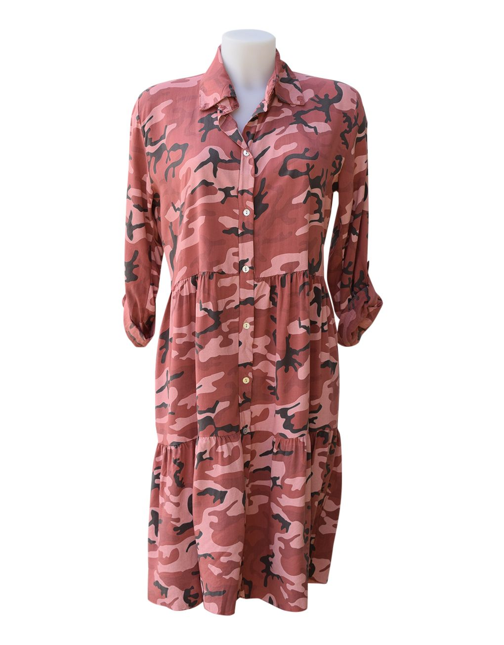 Fashion Fix Italian Camouflage Buttoned Tunic Dress Terracotta