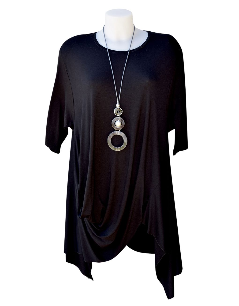 French Styled Floaty Stretch Jersey Tunic Top Black Size 1