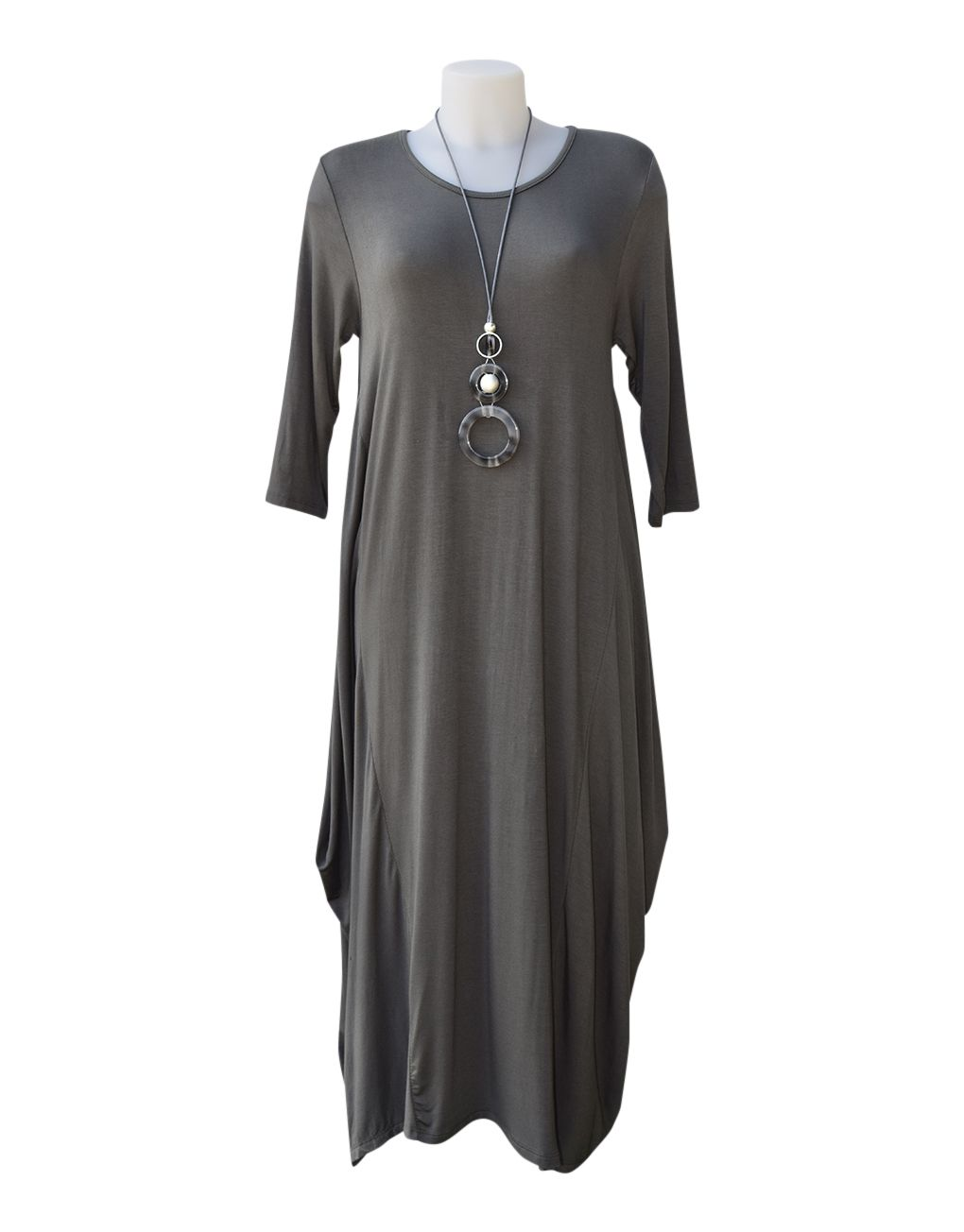 Fashion Fix Italian 3:4 Sleeve Magic Dress Charcoal