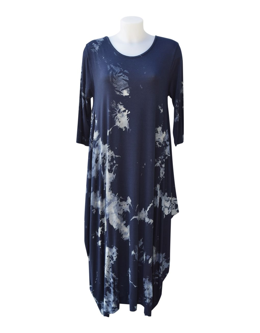 Fashion Fix Italian 3:4 Sleeve Magic Tie Dye Dress Navy