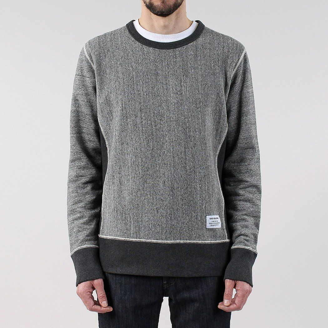 Black Pug Contrast Crew - Grey Heather Grey Heather - Small