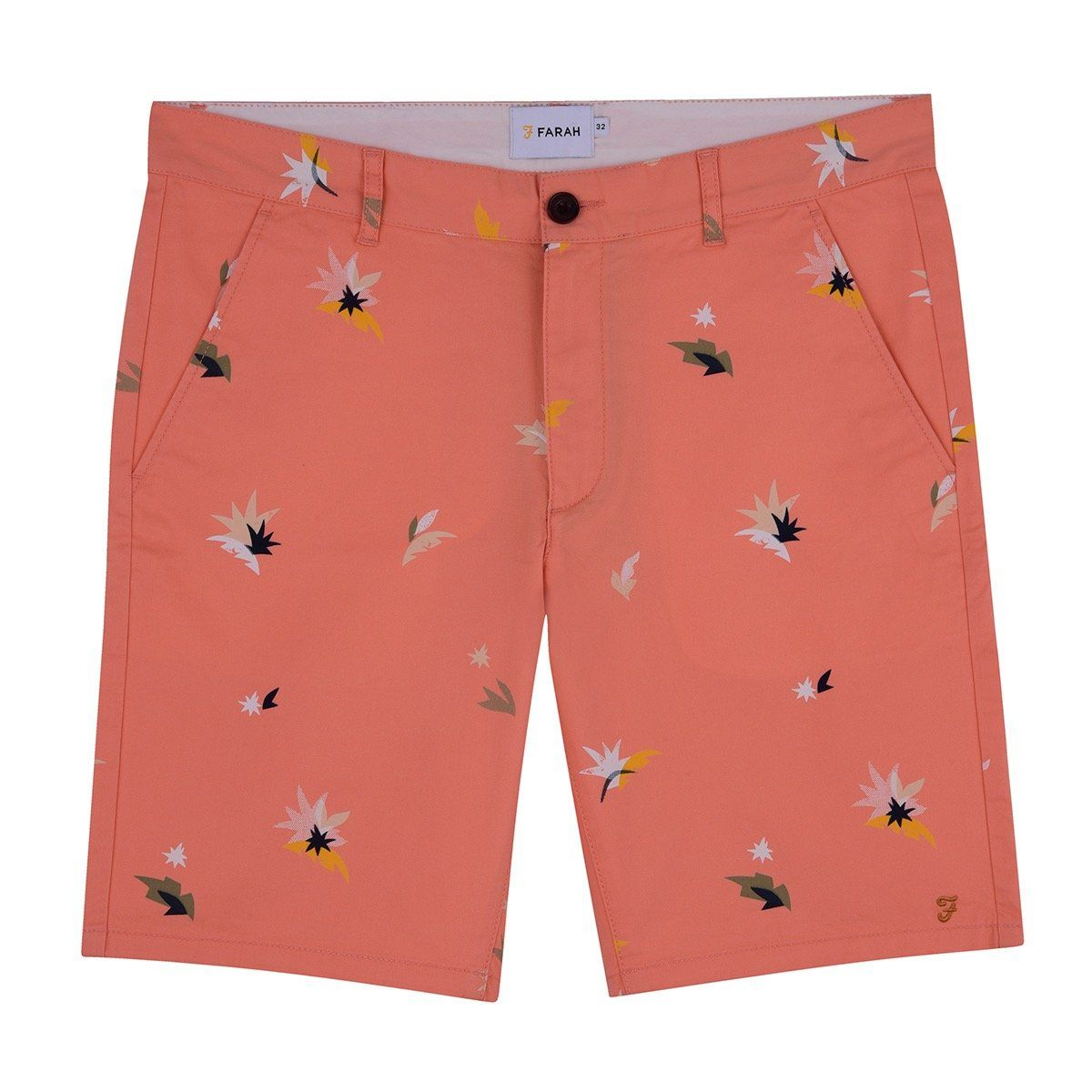 Farah Balearic Print Hawk Chino Shorts - Peach 34'