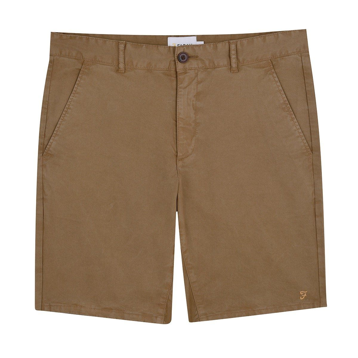 Farah Hawk Dyed Twill Chino Shorts - Olive Brown 30'