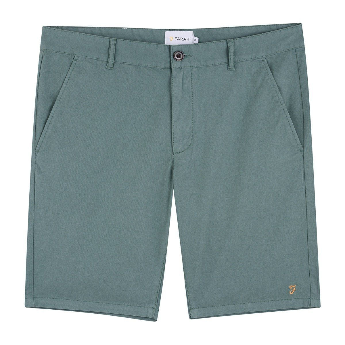 Farah Hawk Dyed Twill Chino Shorts - Green Biscuit 34'