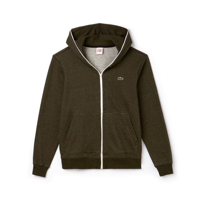Lacoste Live Hooded Zippered Sweatshirt - Olive X-Large