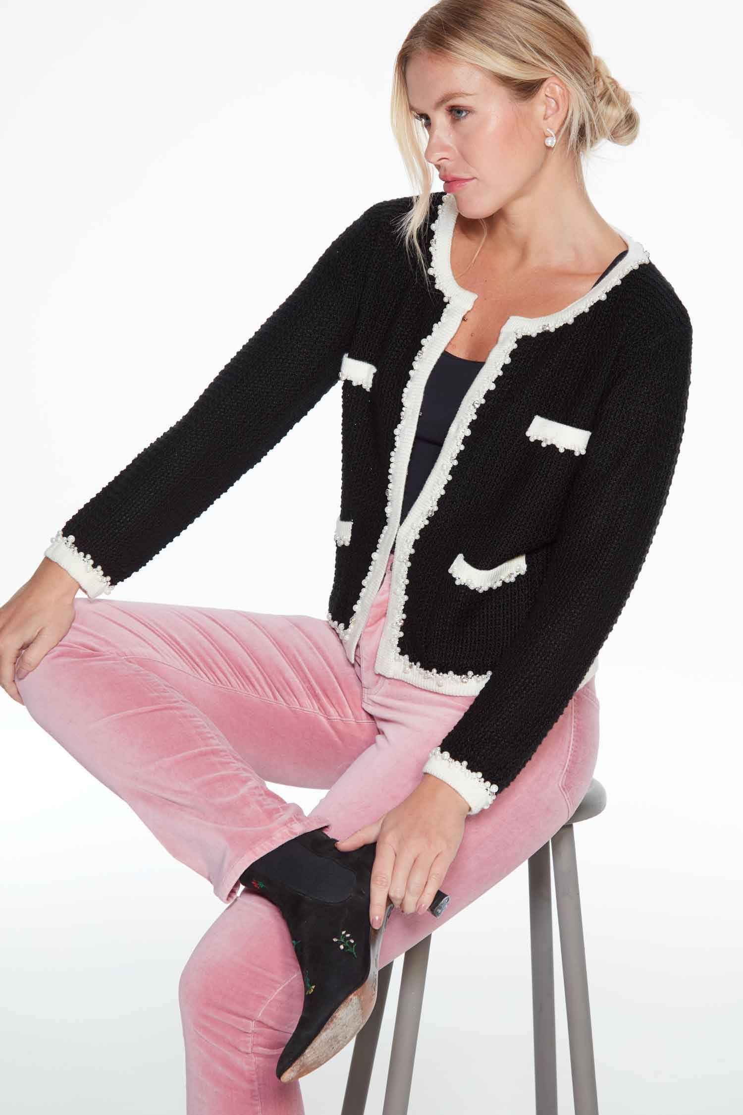 Annie Black French-style Knitted Jacket Large
