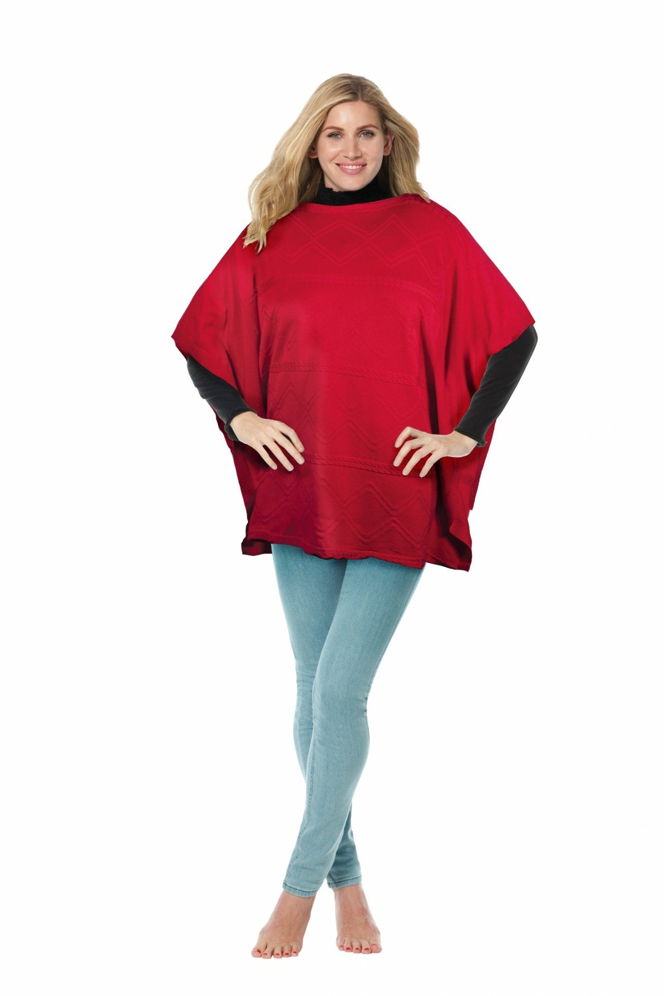 Knitted Poncho - Red