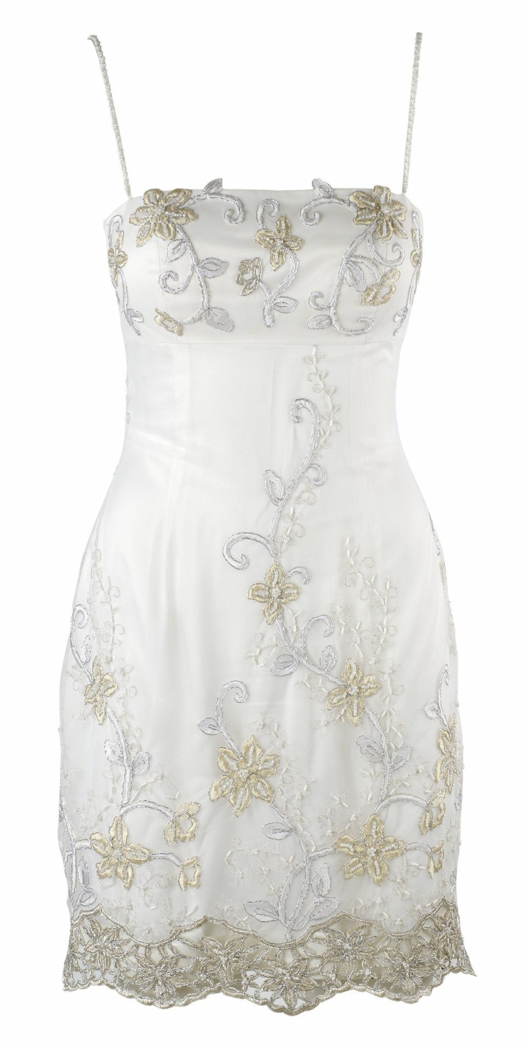 White, Gold &  Silver Embroidered White Couture Dress by Eric Way