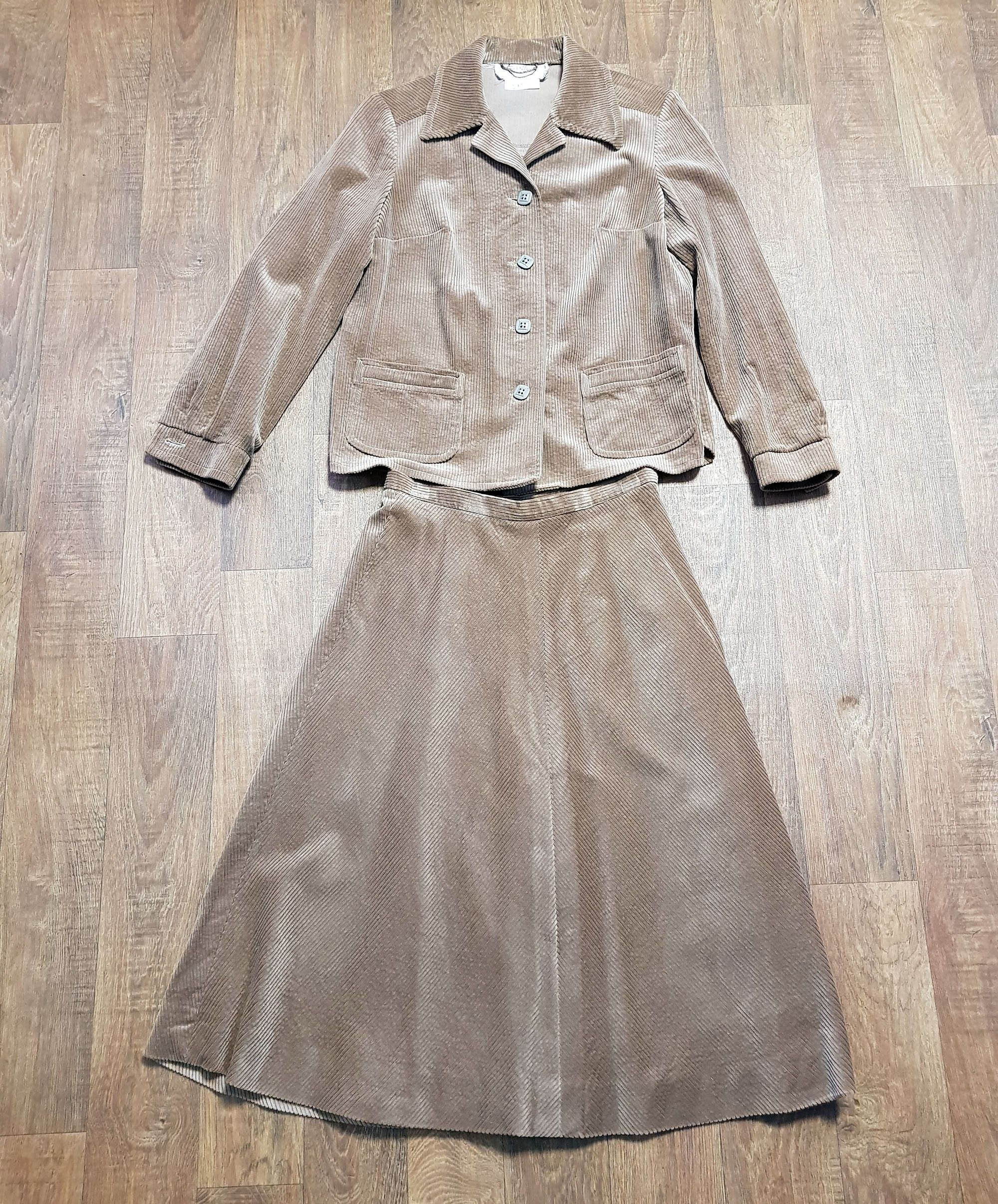 Vintage Skirt Suit | 1970s Vintage Brown Cord Skirt Suit UK Size 10