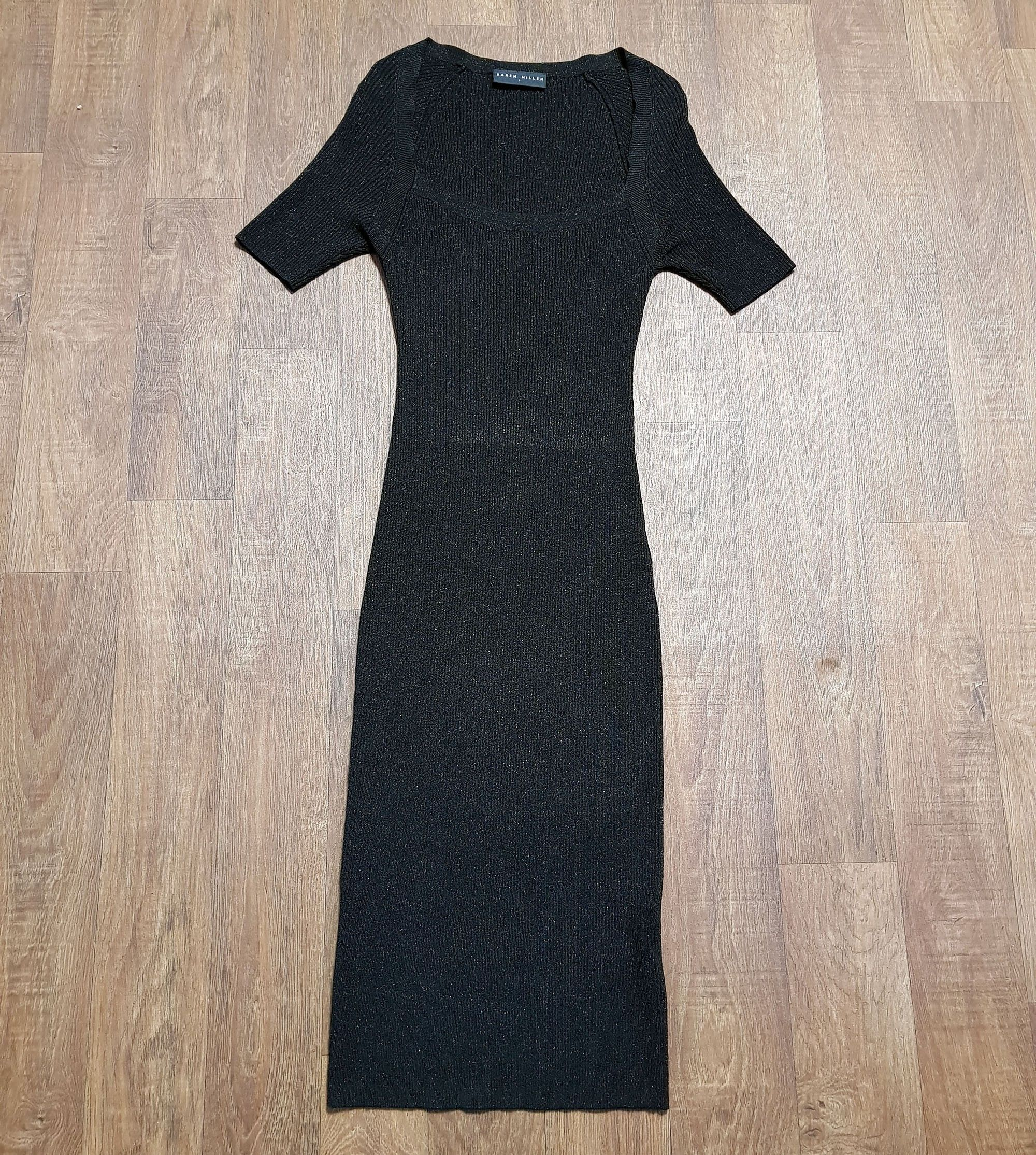 Vintage Knit Dress | Vintage Karen Millen Black Knitted Dress UK Size 6/8