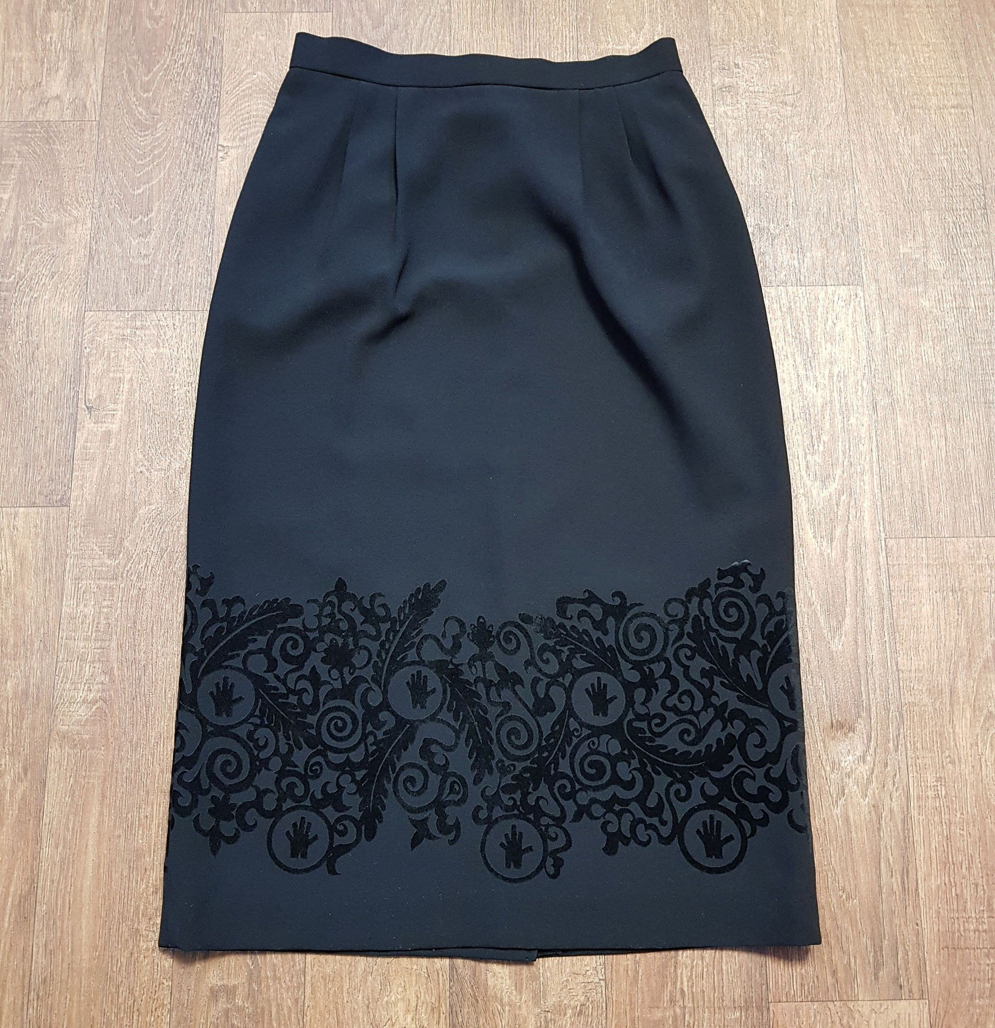 1970s Vintage Black Flocked Pencil Skirt UK Size 10