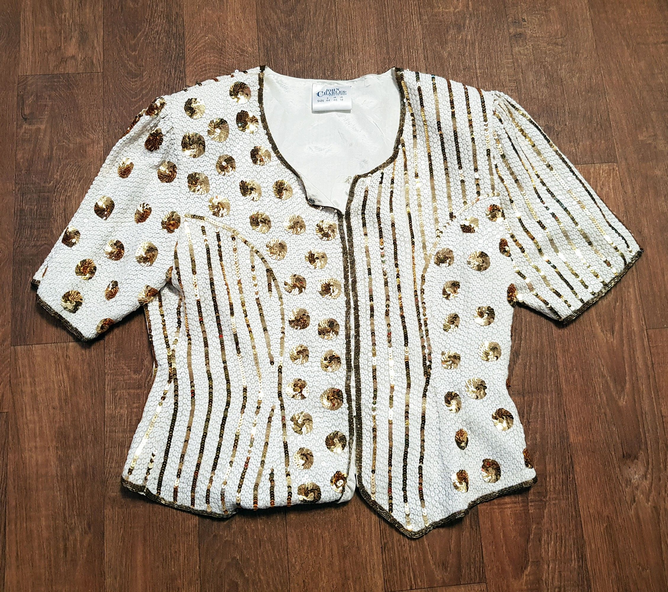1980s Vintage John Charles White & Gold Sequin Top UK Size 16