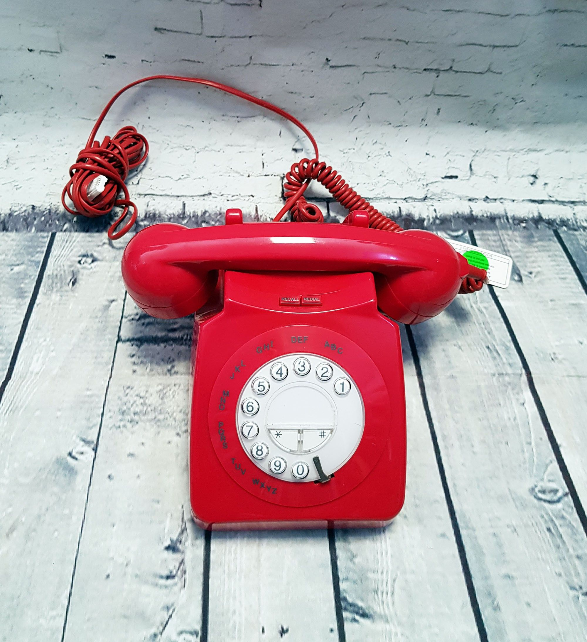 Vintage Retro Red Rotary Dial Style Telephone