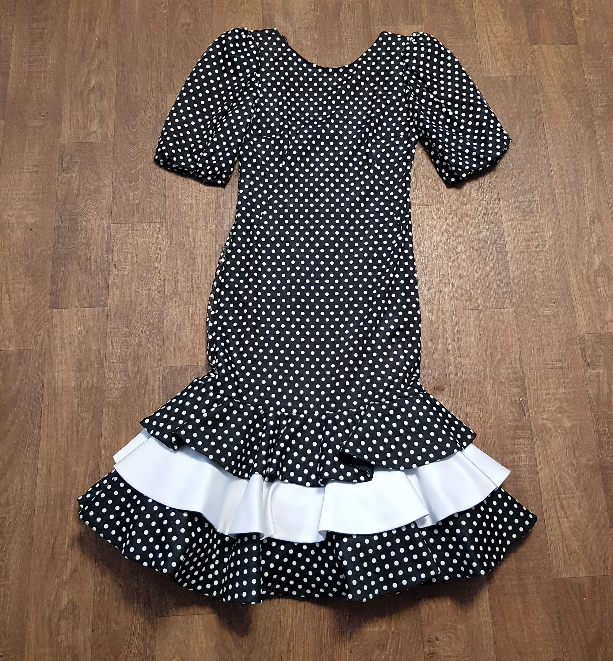 1980s Vintage Frank Usher Monochrome Spotty Cocktail Dress UK Size 8/10
