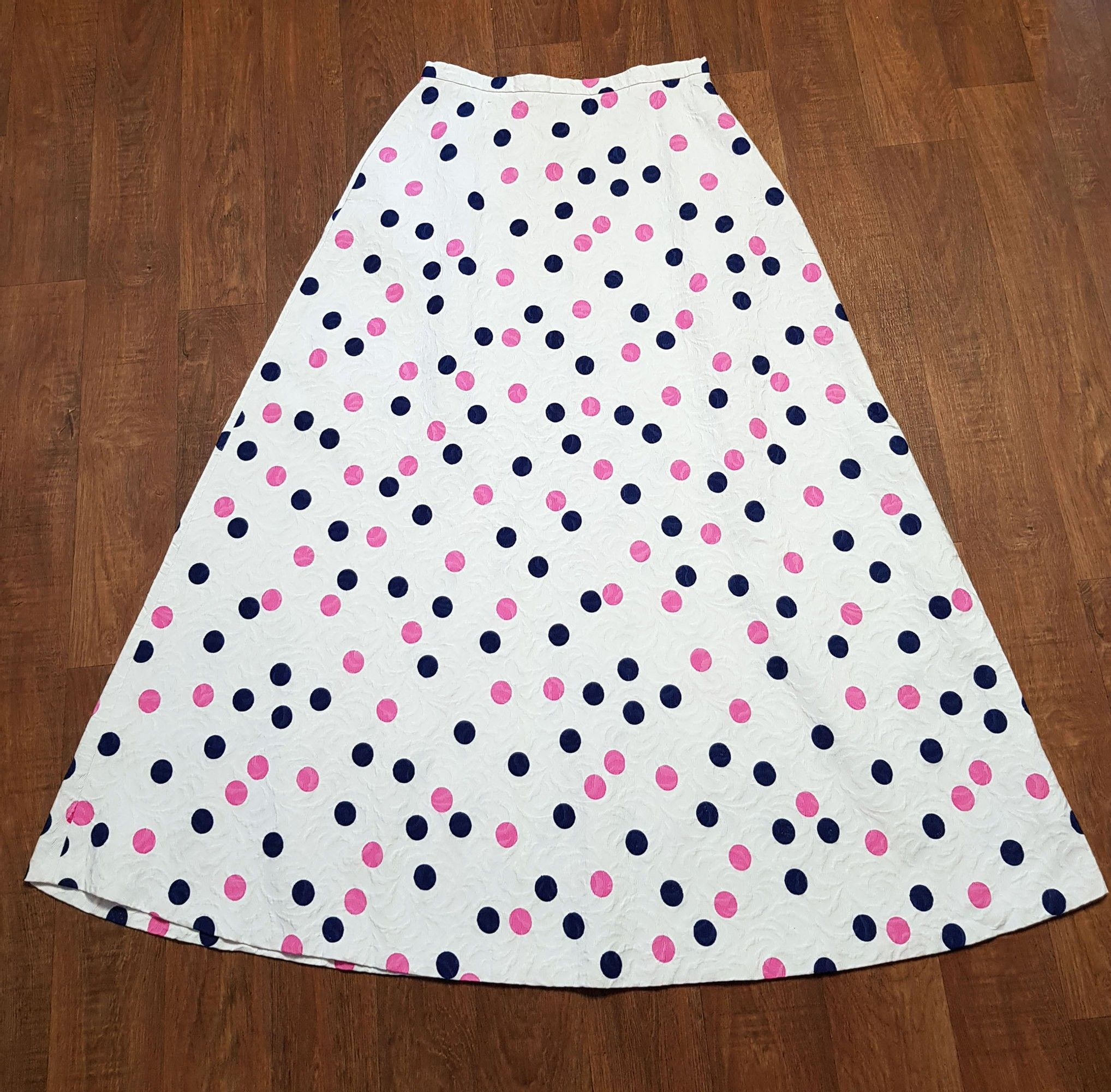 1960s Vintage St Michael Polka Dot Maxi Skirt UK Size 12/14