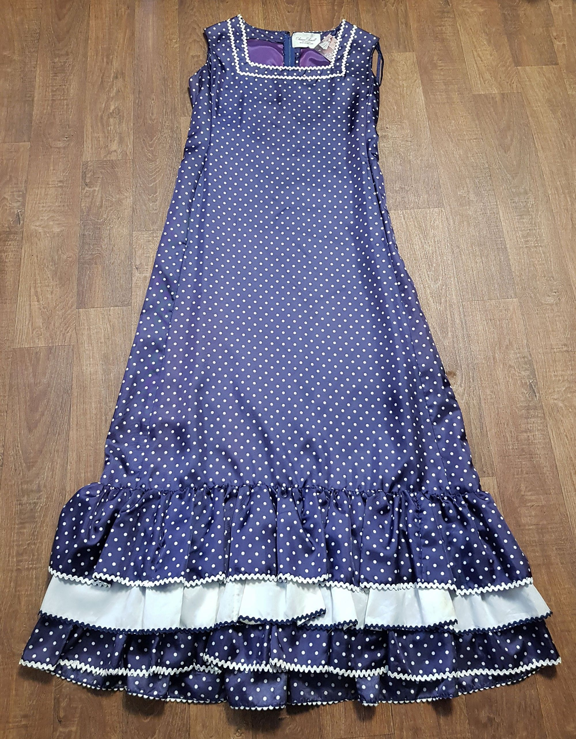 1960s Vintage Susan Small Navy Polka Dot Dress UK Size 16
