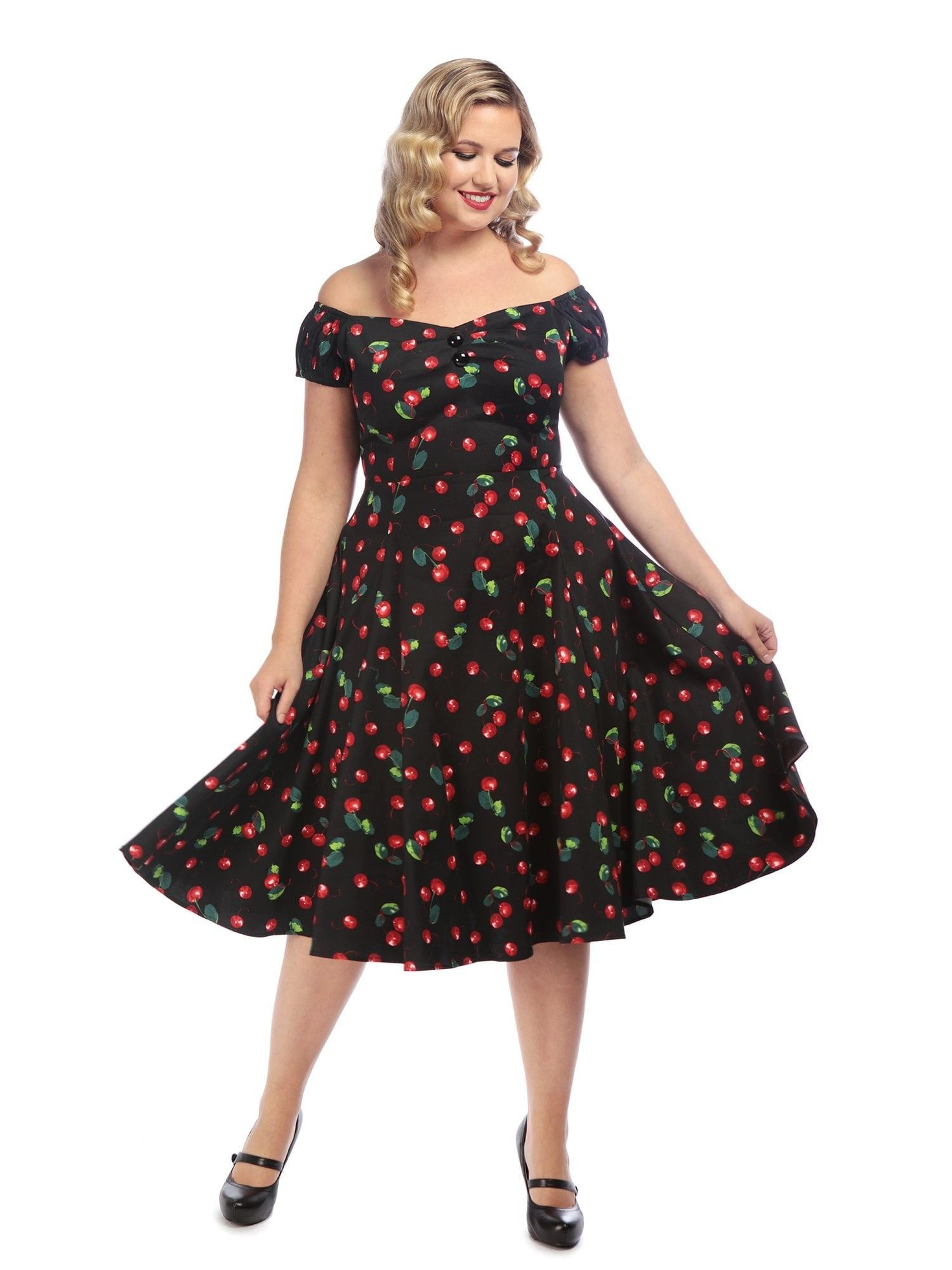 Vintage 1950s Style Black Cherry Swing Dress Black - UK6