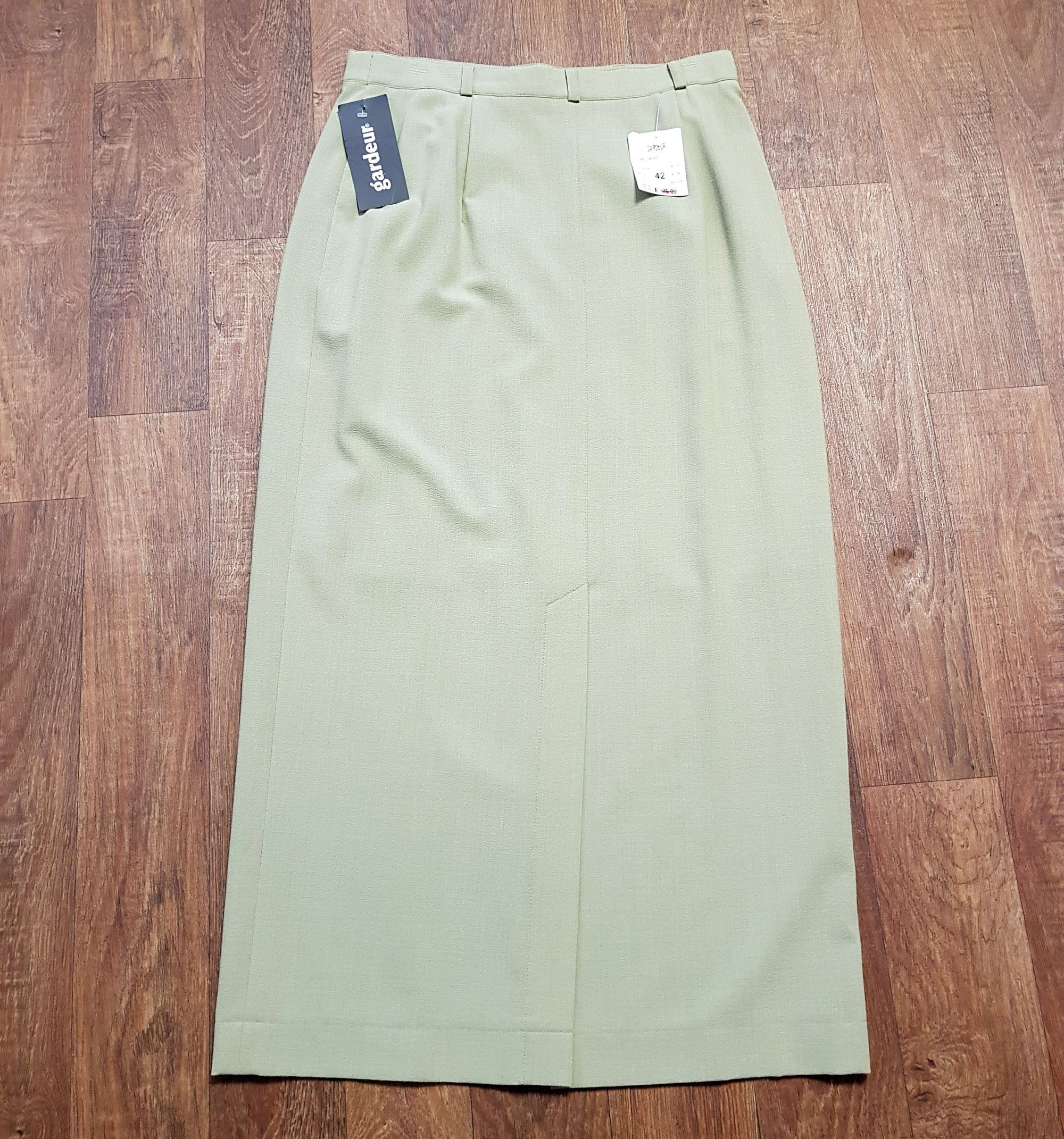 1990s Vintage Green Long Pencil Skirt with Tags UK Size 14