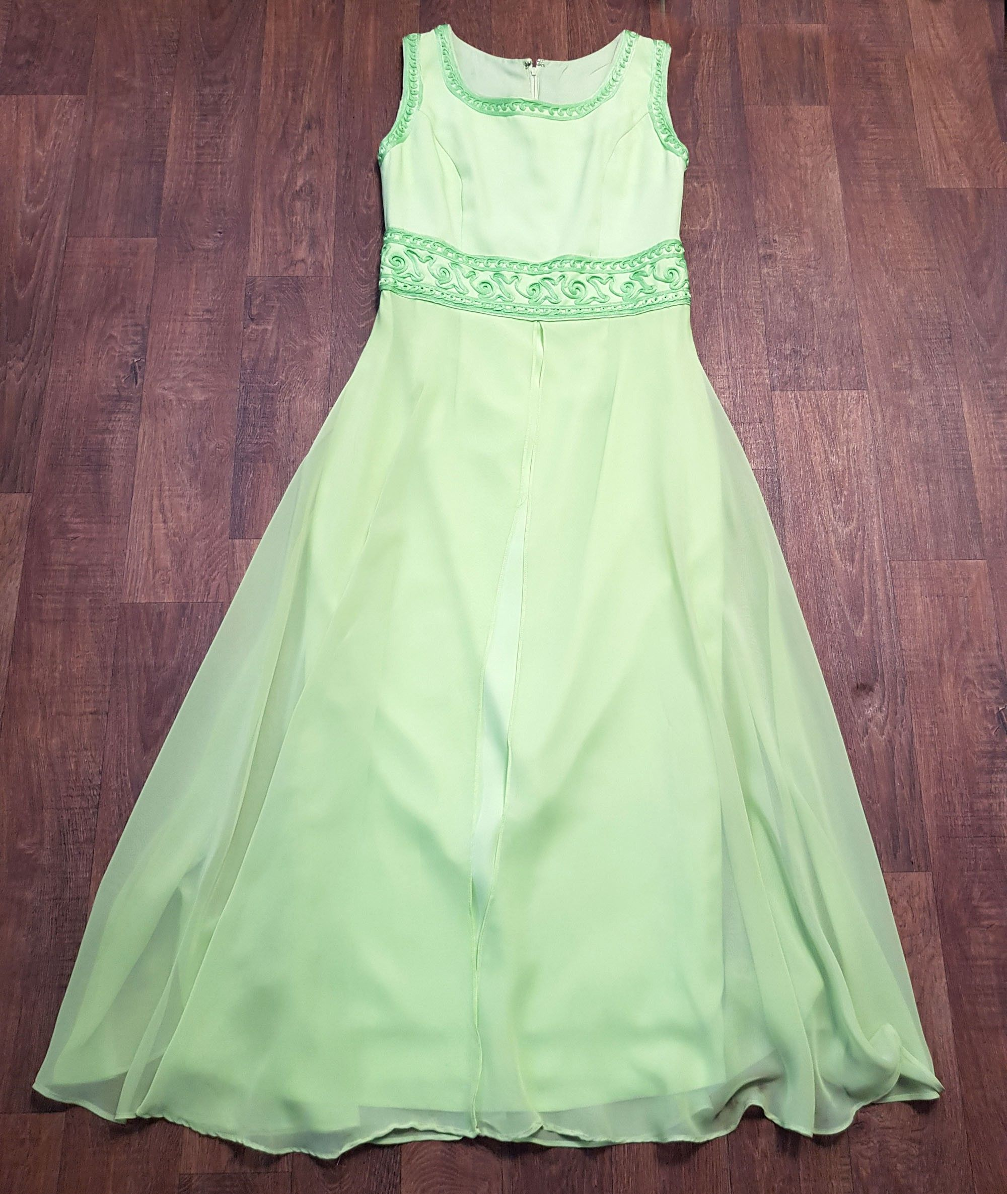 1970s Vintage Lime Green Overlay Maxi Dress UK Size 12