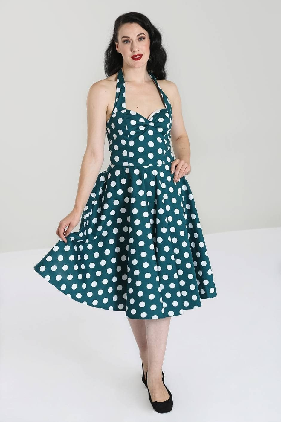 1950s Style Teal Polka Dot Halterneck Swing Dress Green - UK10