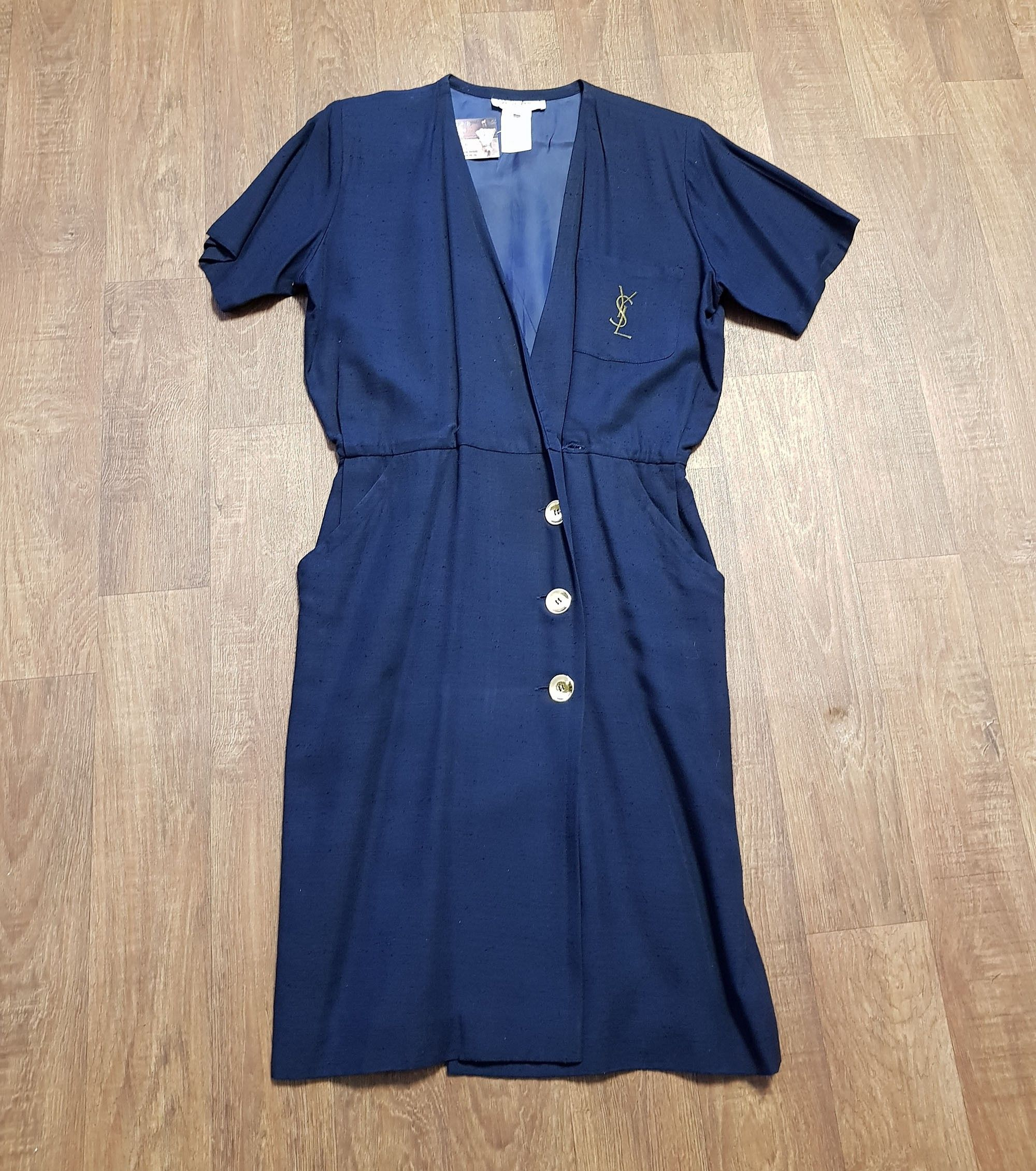 1980s Vintage YSL Navy Nautical Wrap Dress UK Size 12