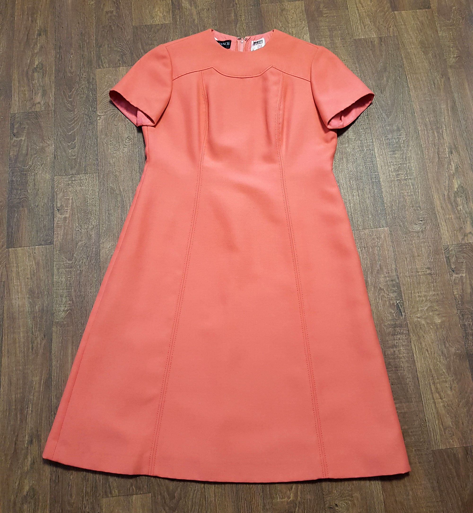 1960s Vintage Peggy French Couture Coral Shift Dress UK Size 16