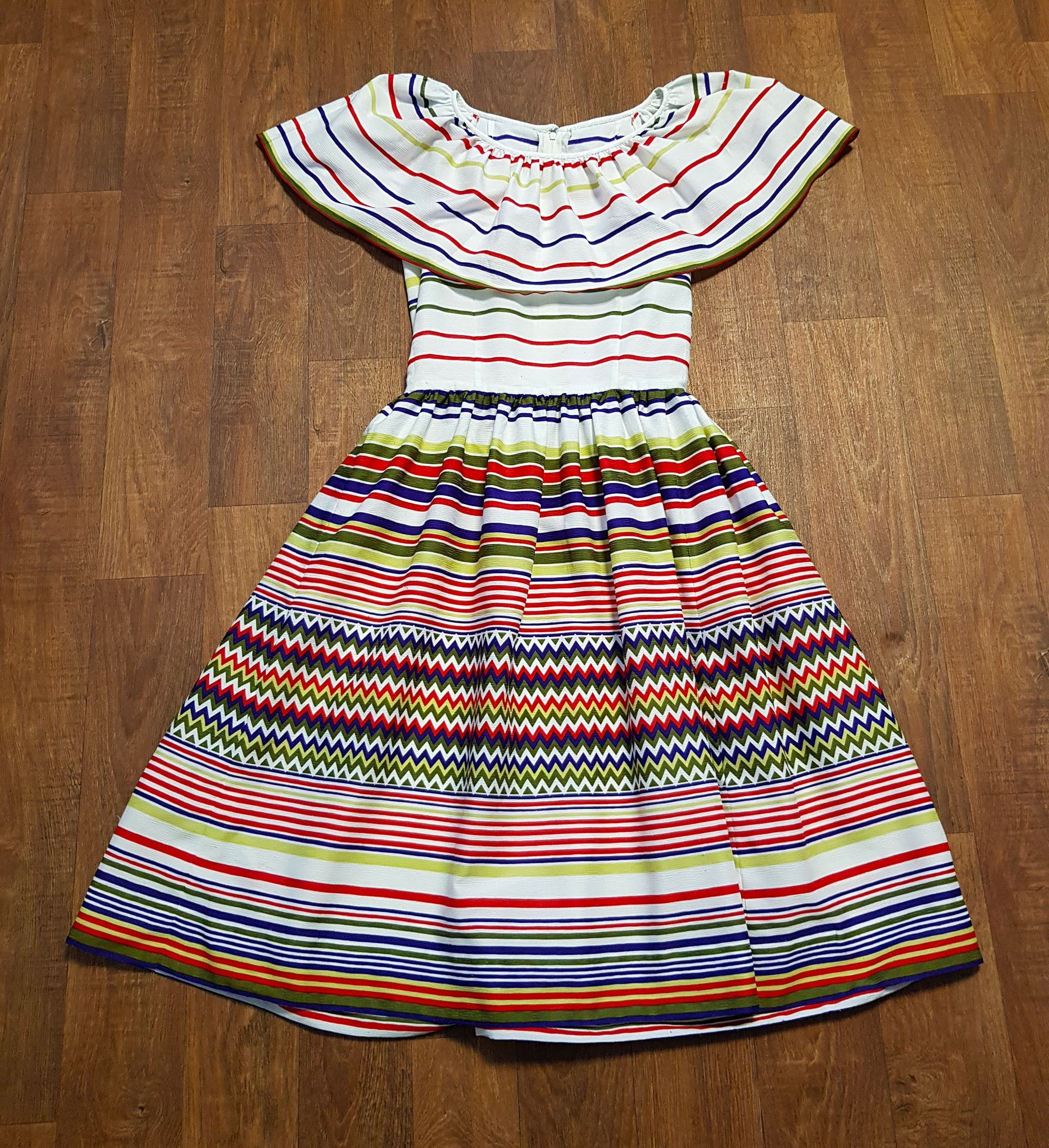 1970s Designer Vintage Lanvin Striped Boho Gypsy Dress UK Size 10