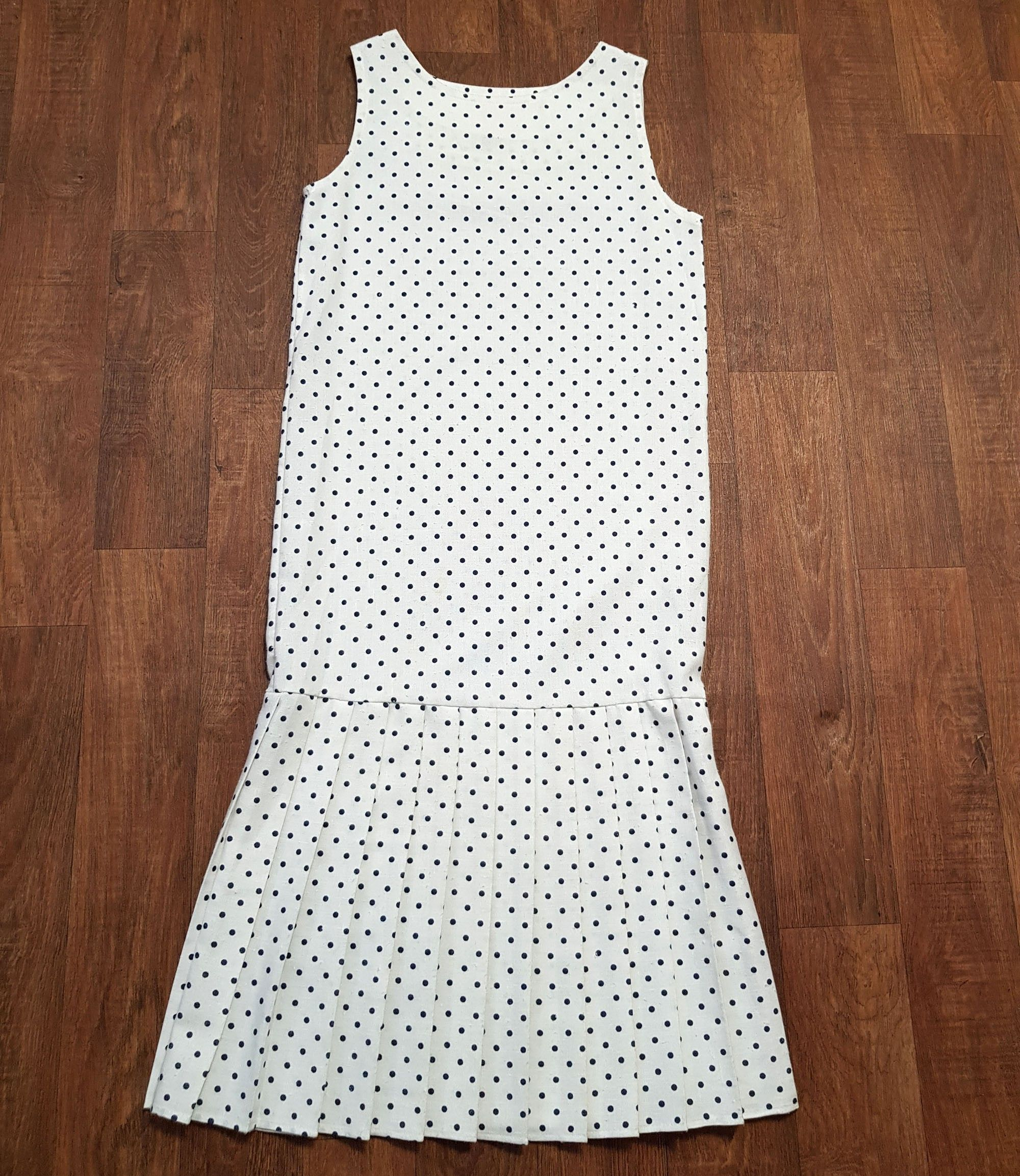 70s does 20s Vintage White Polka Dot Dress UK Size 10