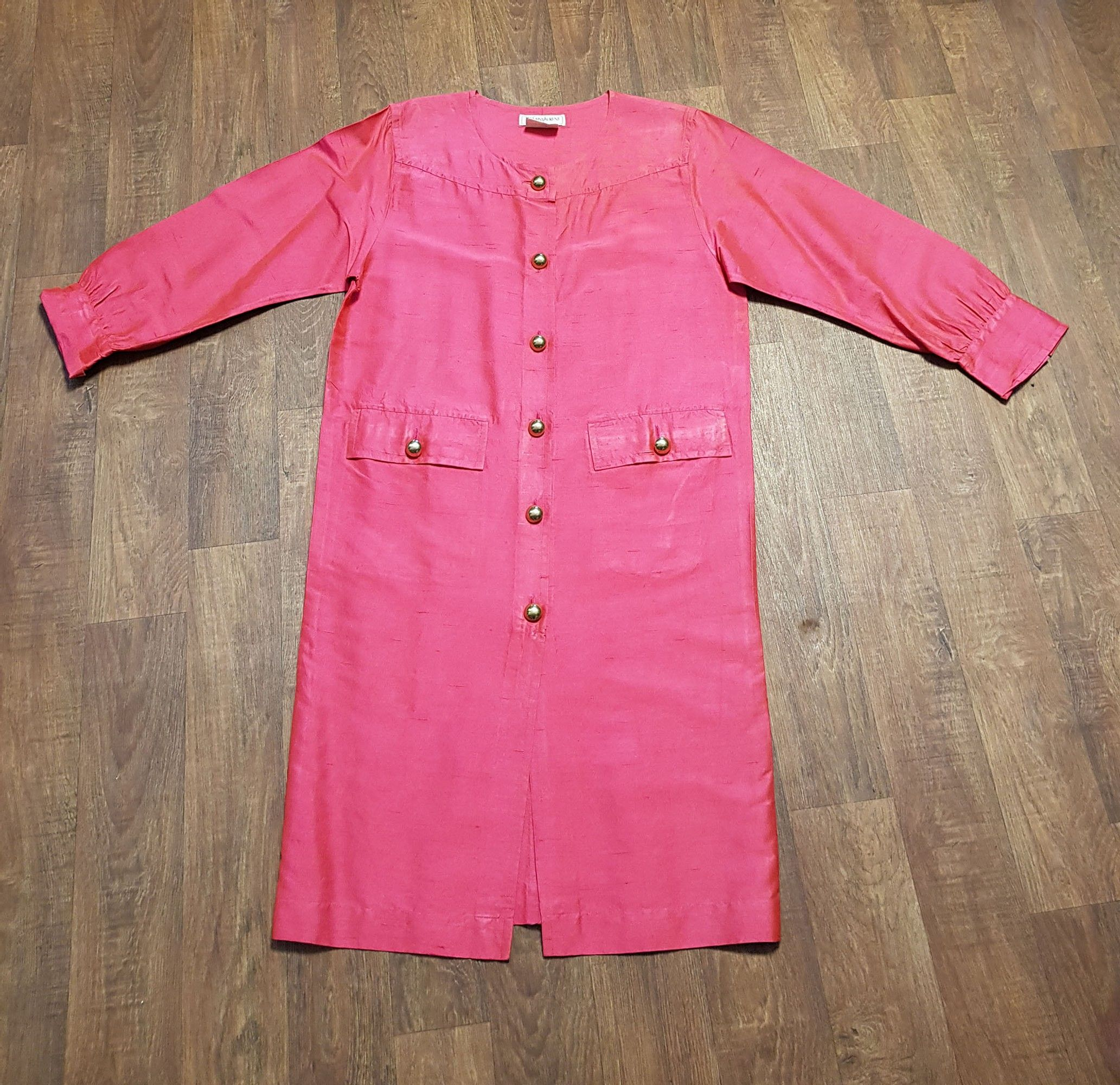 1980s Vintage YSL Hot Pink Silk Shirt Dress UK Size 14/16/18