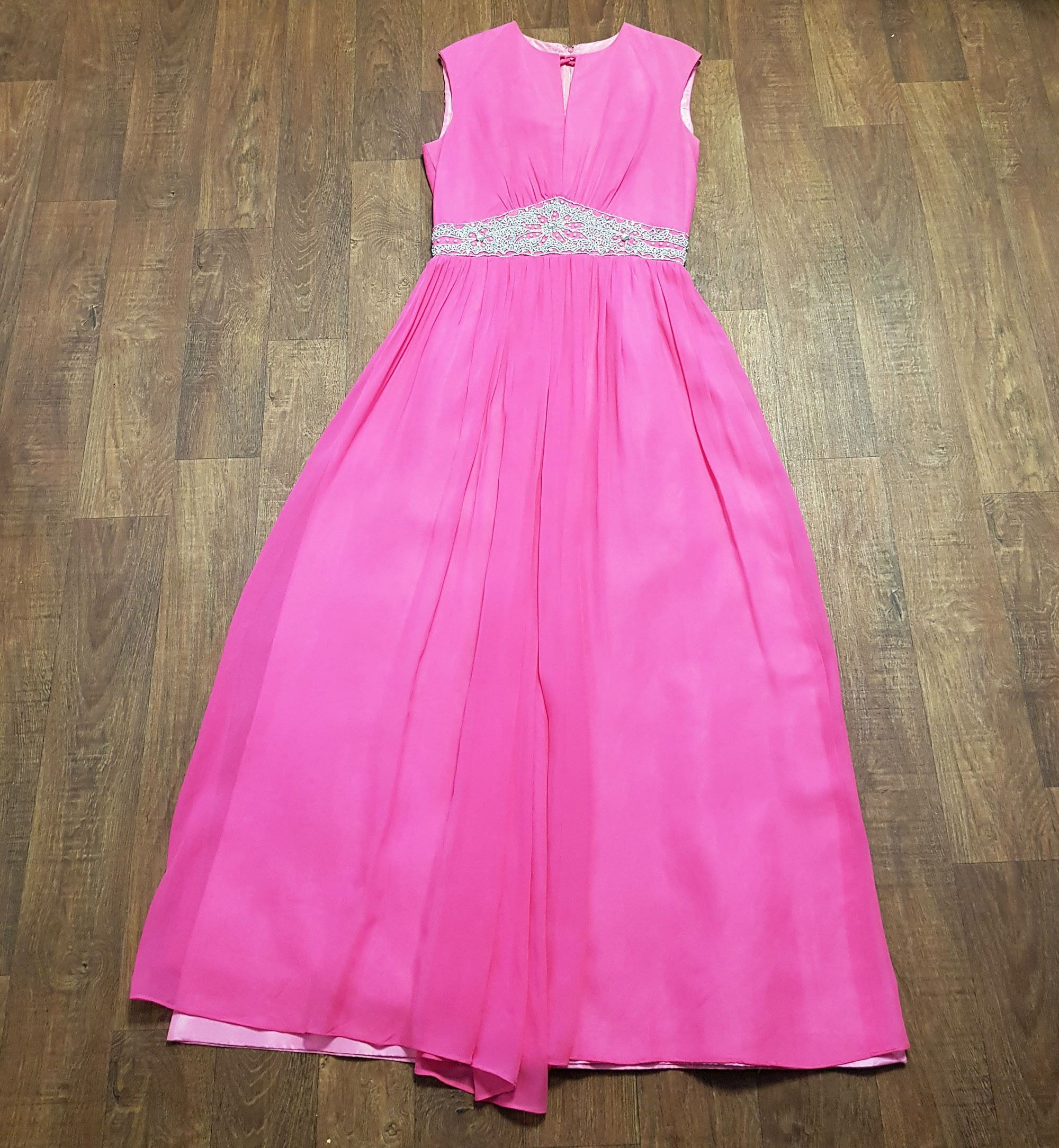 Stunning 1960s Vintage Carnegie Pink Evening Maxi Dress UK Size 10