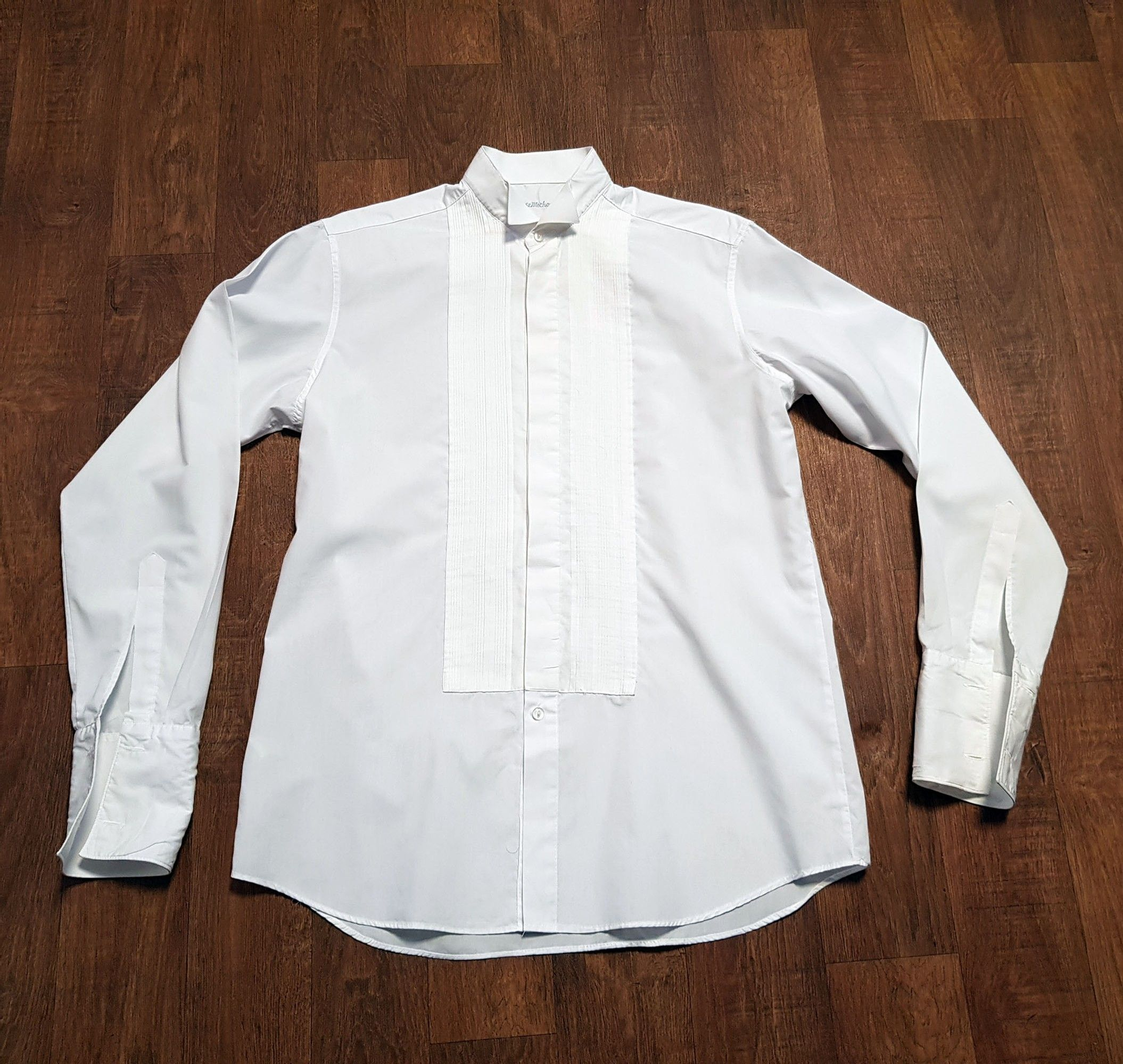 Mens Vintage White Wing Collar Dress Shirt UK Size Large