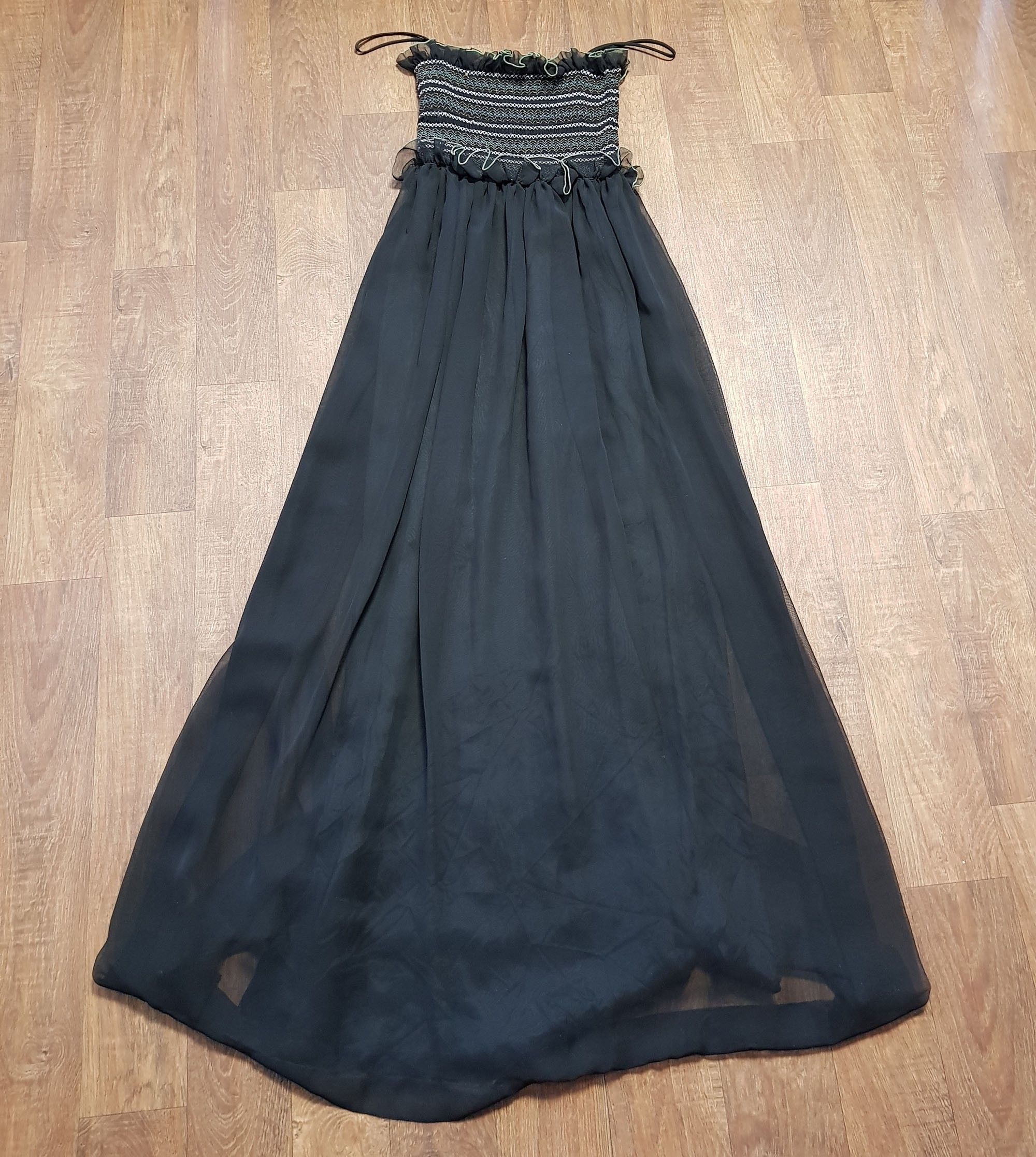 Vintage Jean Varon Black Chiffon Evening Maxi Dress UK Size 8