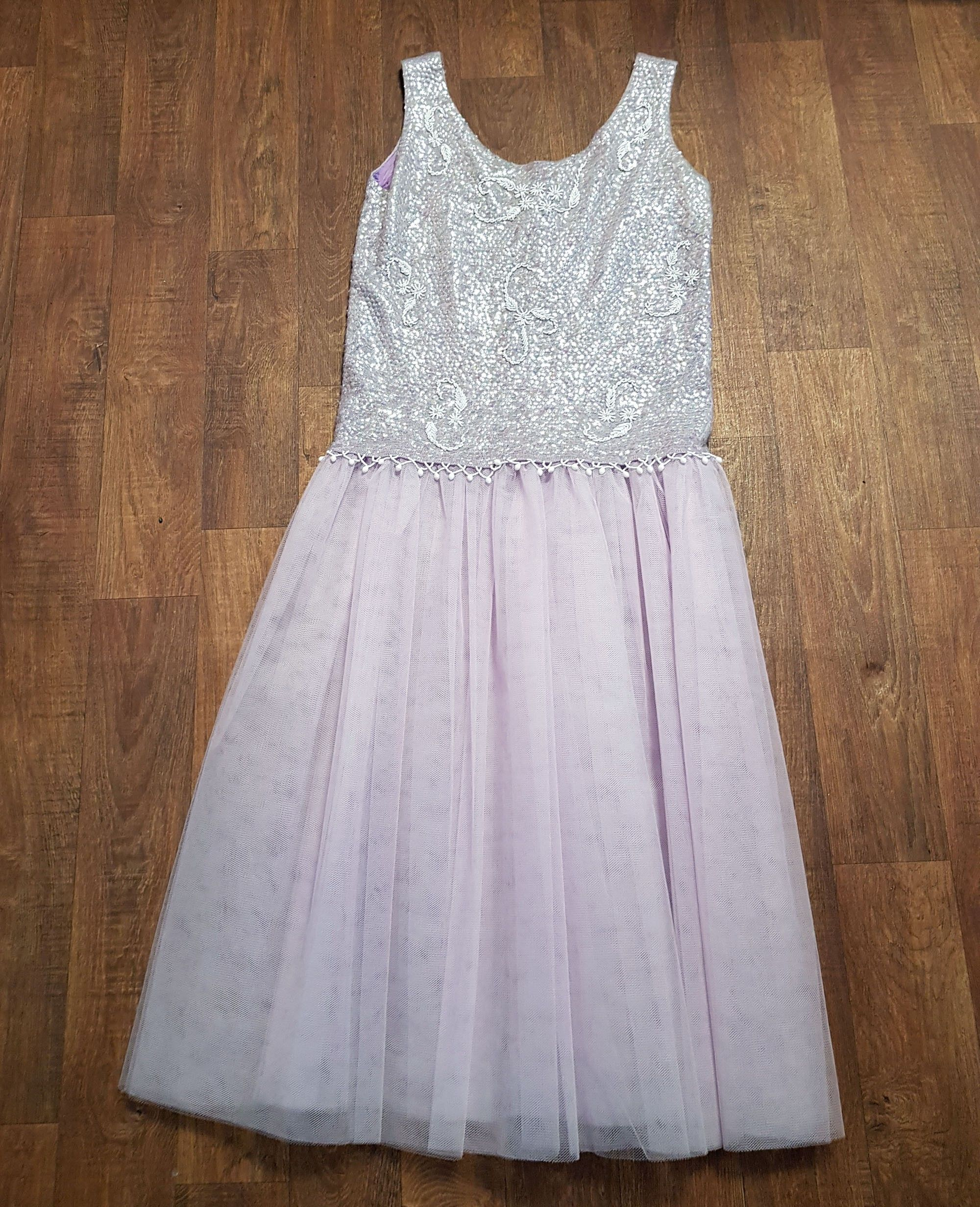 1980s Vintage Handmade Lilac Net Party Dress UK Size 16/18