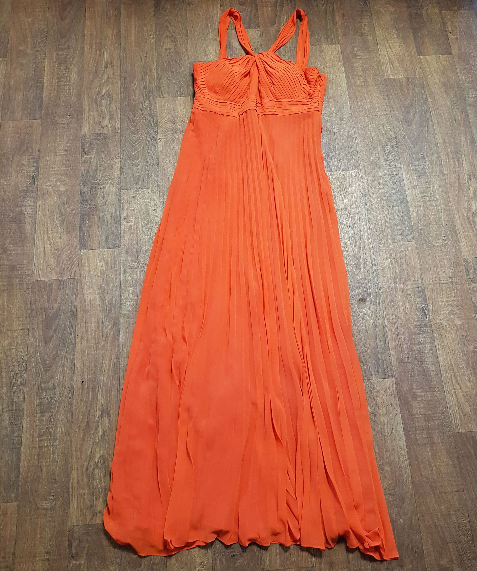 Orange Pleated Chiffon Evening Maxi Dress UK Size 14