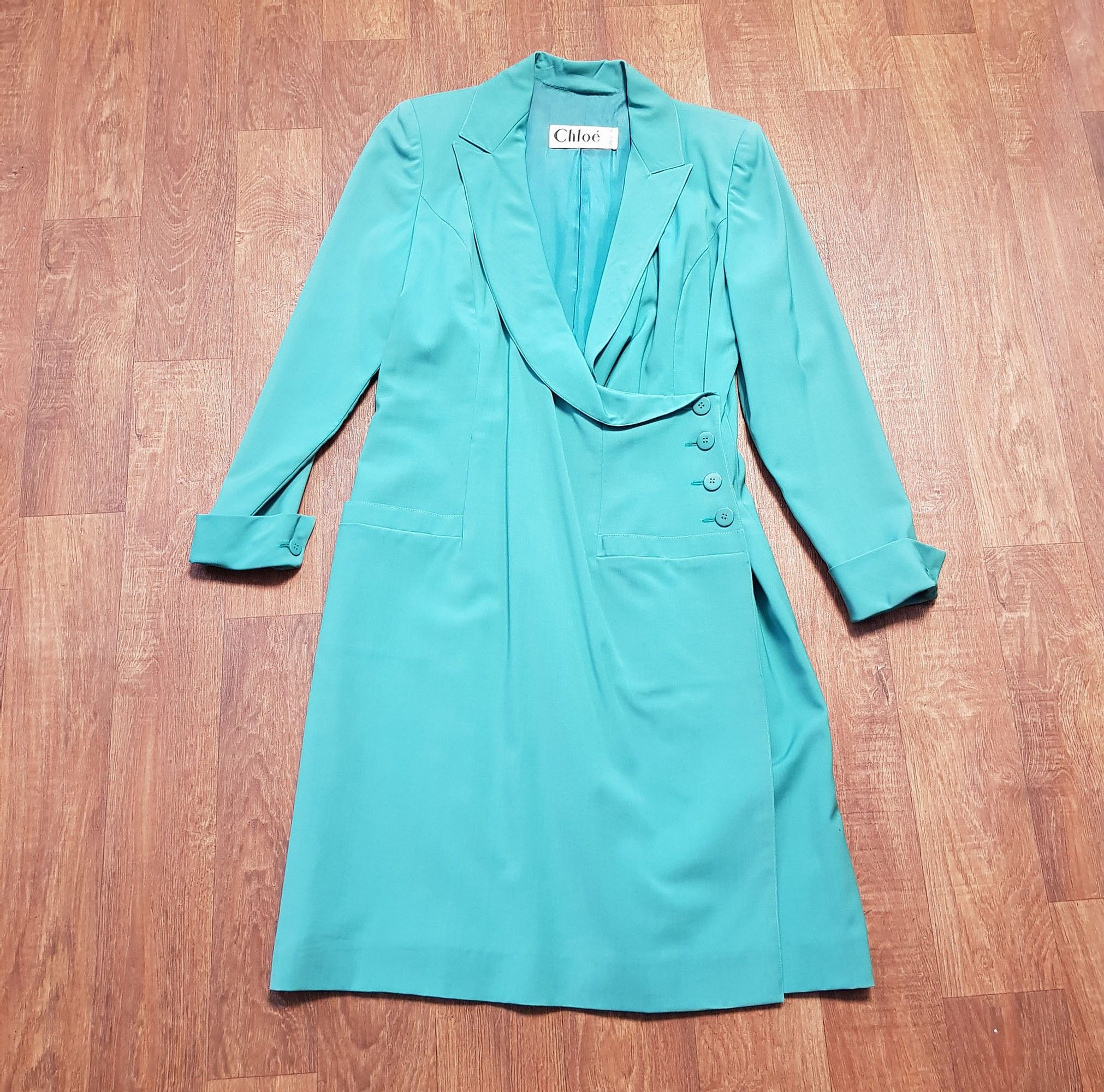 1980s Vintage Chlo Green Blazer Dress UK Size 12