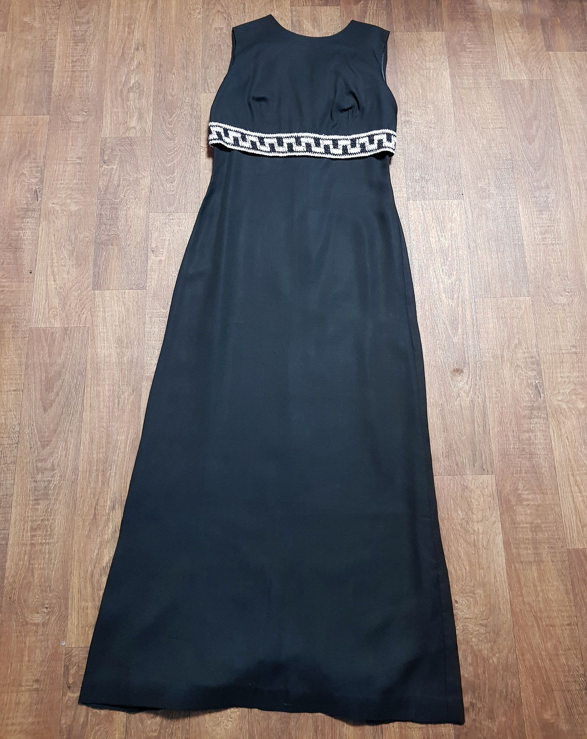 1960s Vintage Long Black Charmont Cocktail Dress UK Size 12