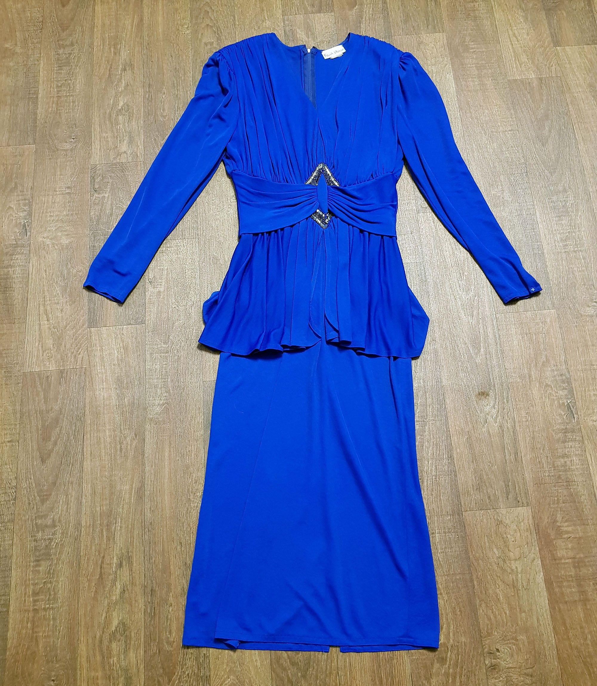 1980s Vintage Frank Usher Blue Cocktail Dress UK Size 12