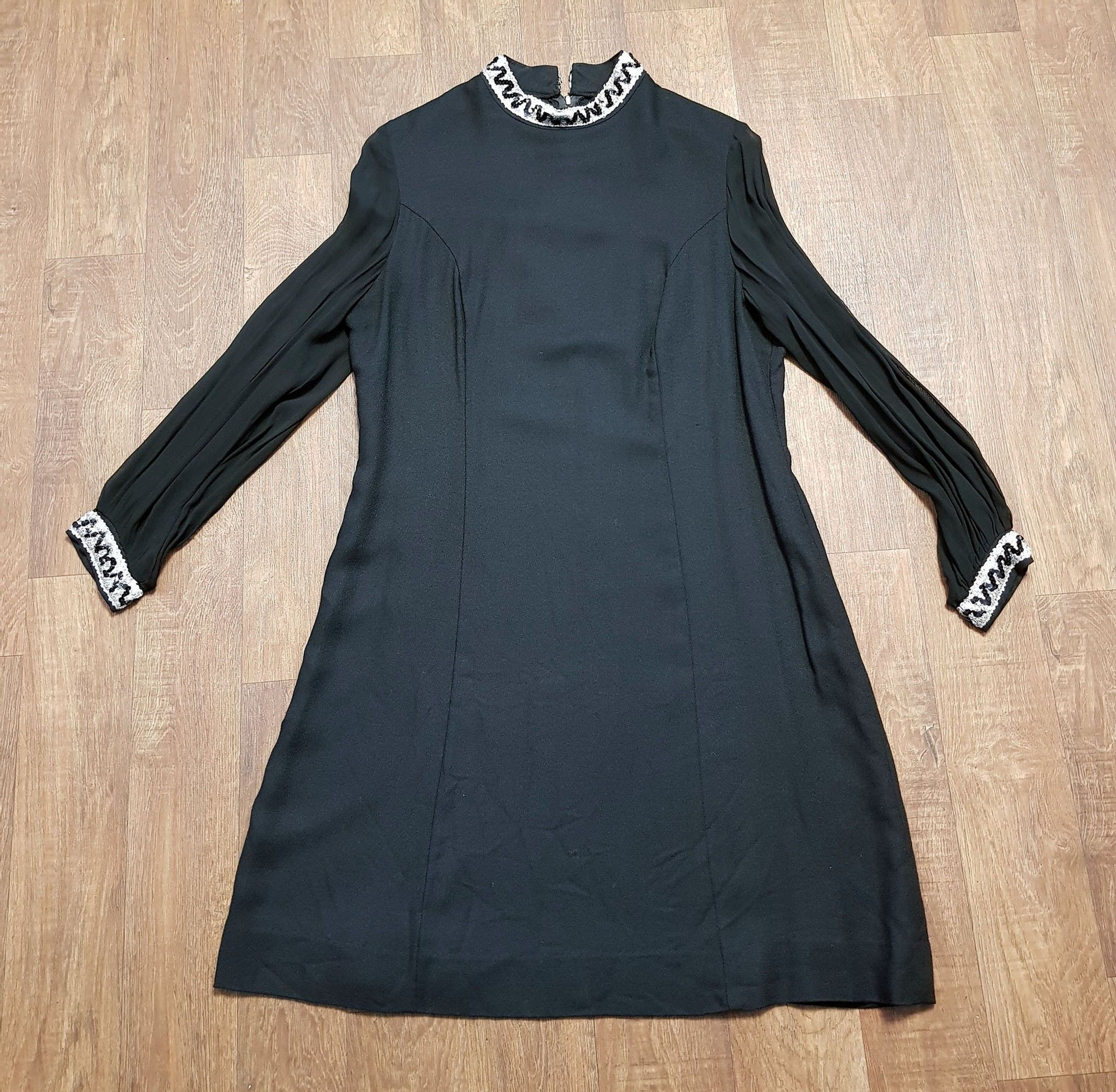 1960s Vintage Black Sheer Sleeve Cocktail Dress UK Size 14