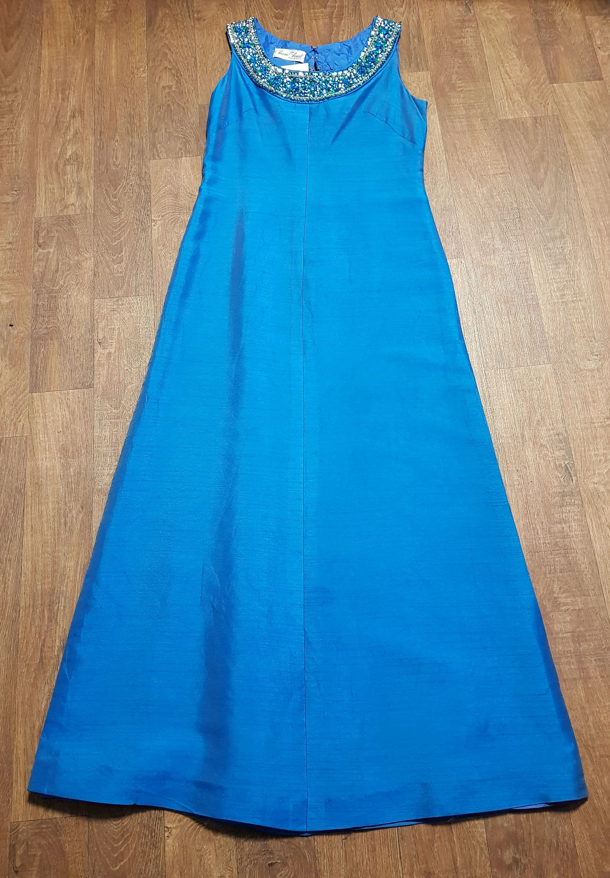 1960s Vintage Teal Silk Susan Small Evening Dress UK Size 12