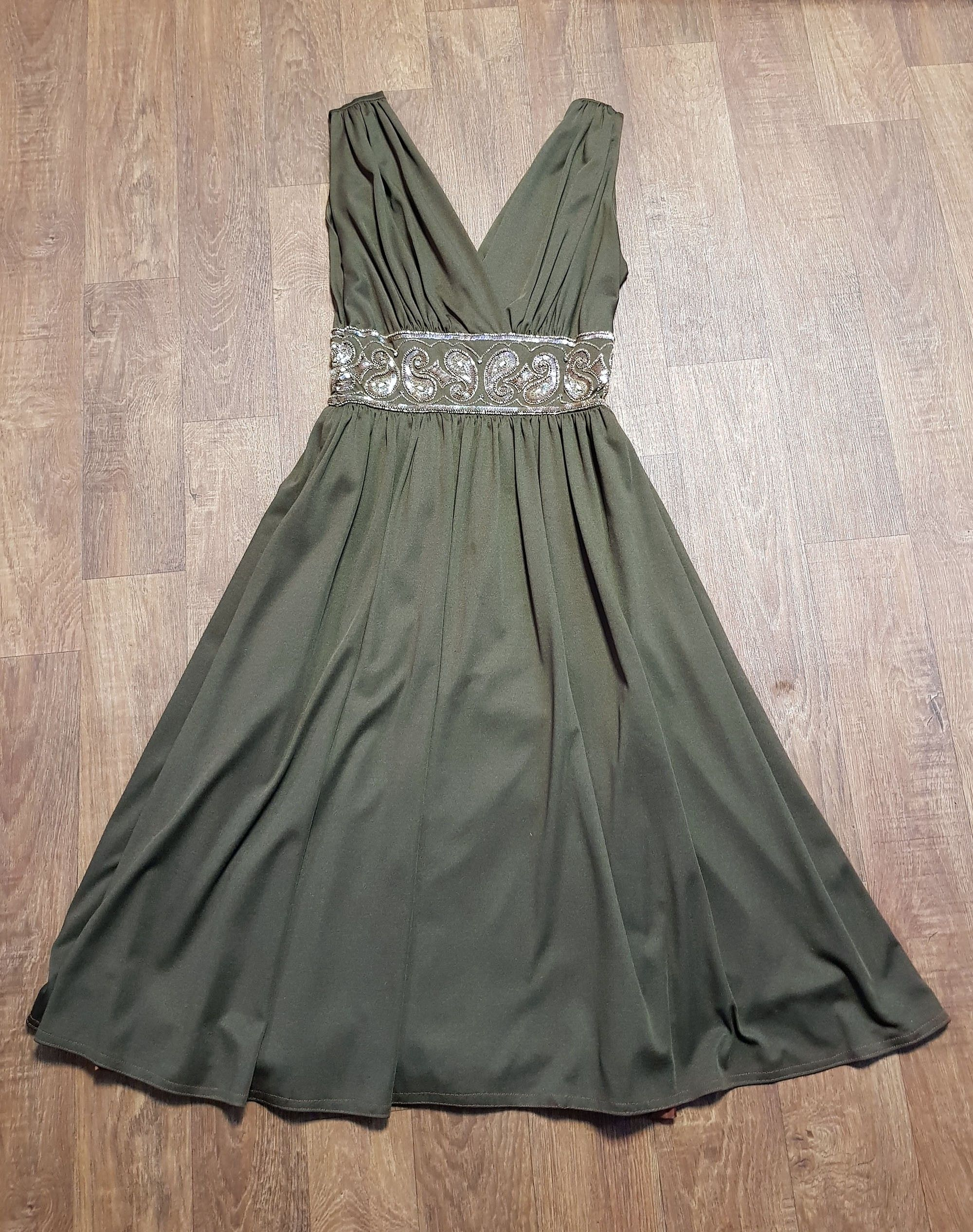 1970s Vintage Brown Sequin Plunge Party/Prom Dress UK Size 10