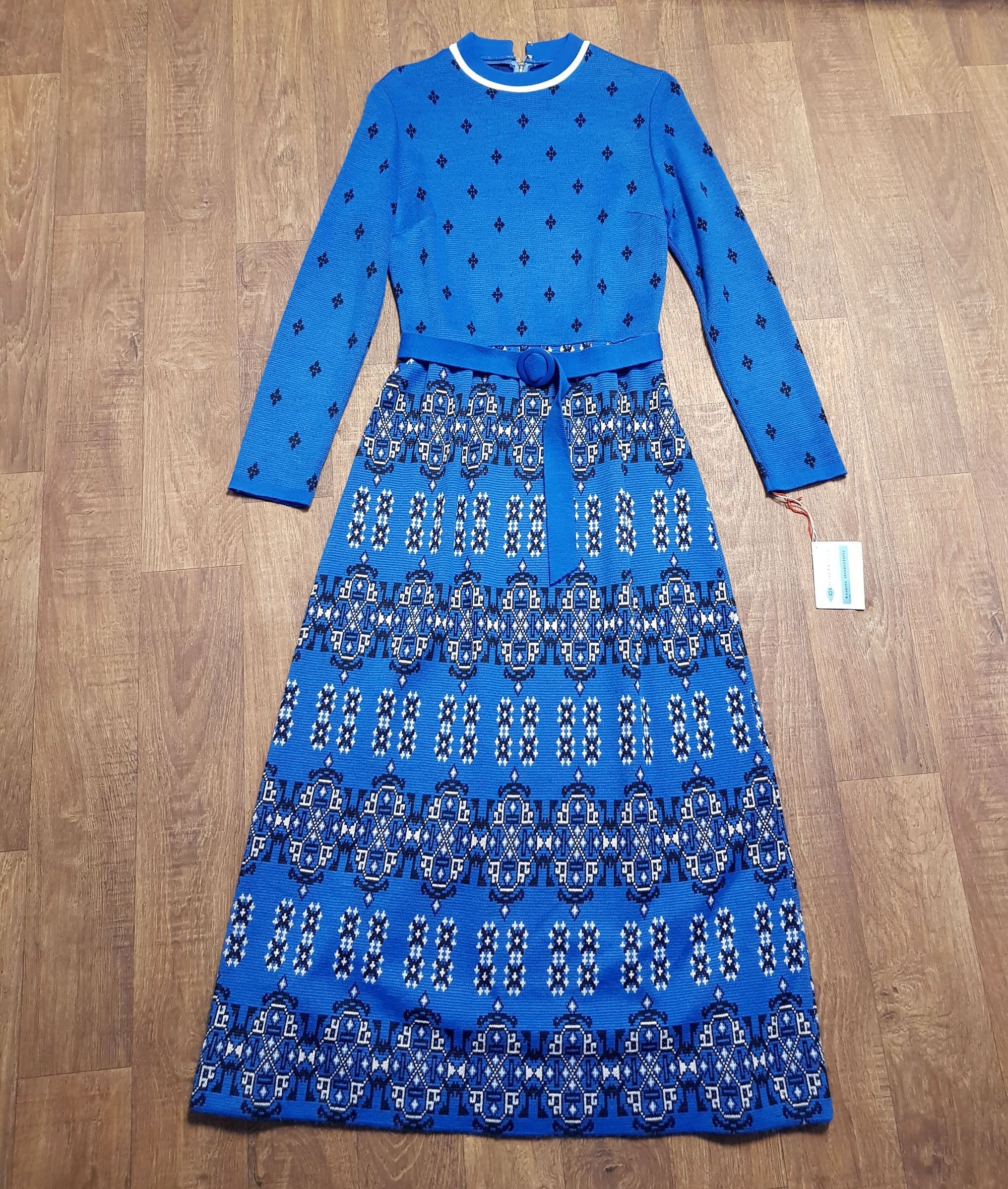 1960s Tagged Vintage Frank Usher Teal Knitted Maxi Dress UK Size 10
