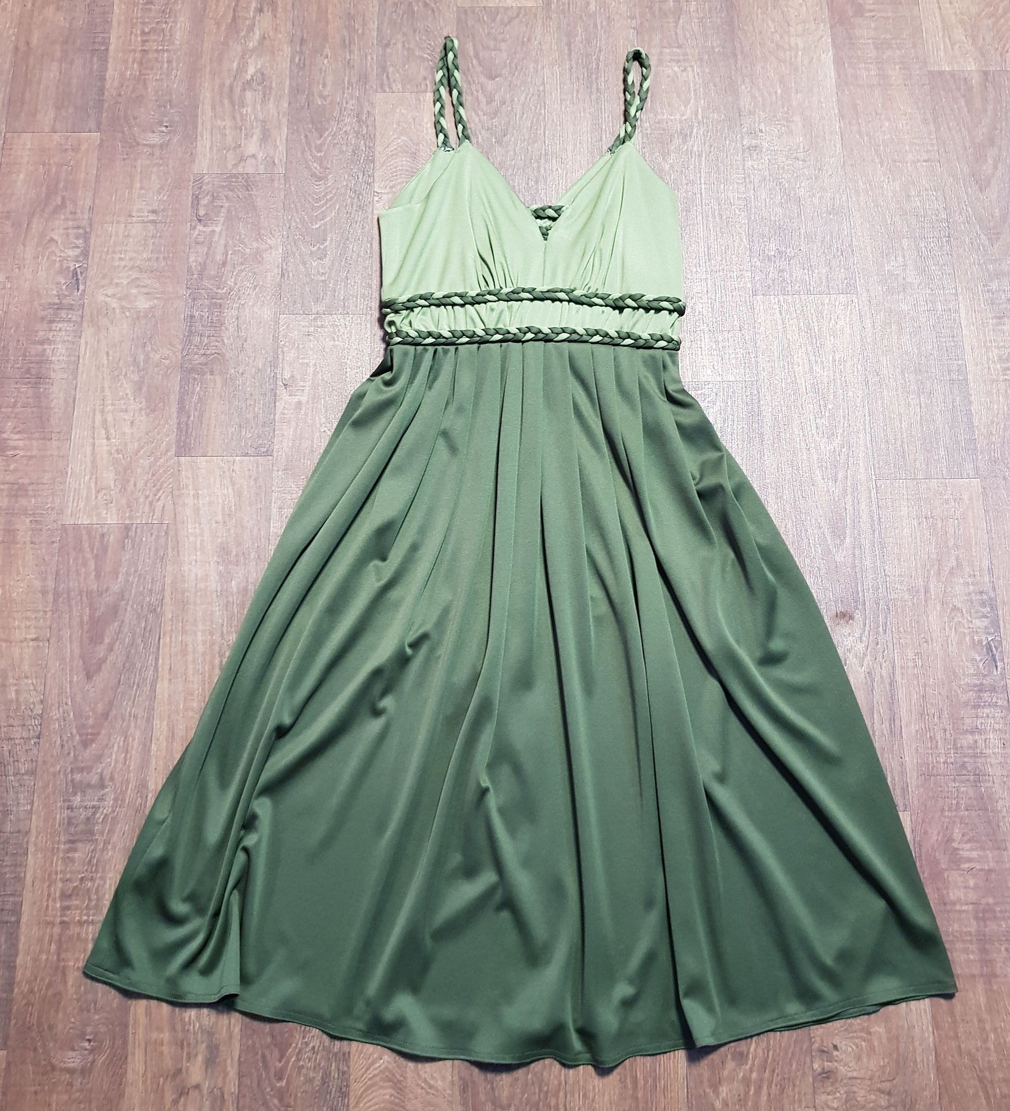 1970s Vintage Olive Green Plaited Evening Dress UK Size 10