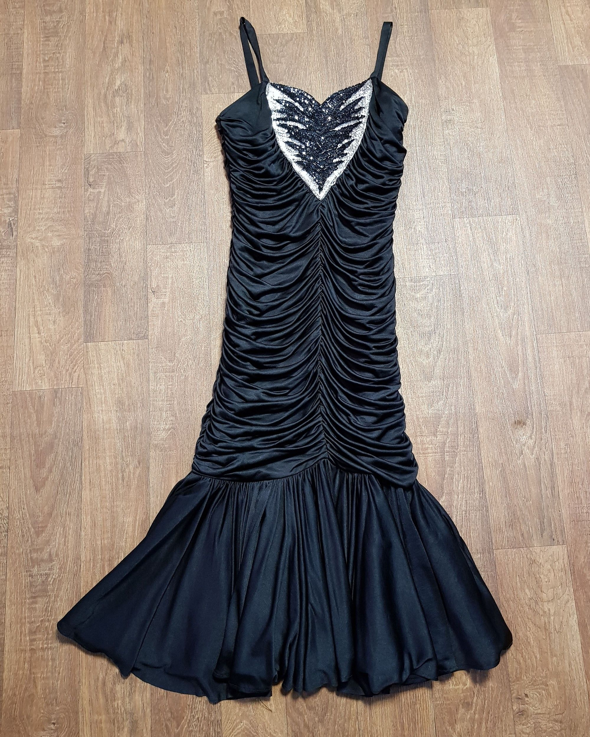 1980s Vintage Black Rouched Sequin Party/Prom Dress UK Size 12