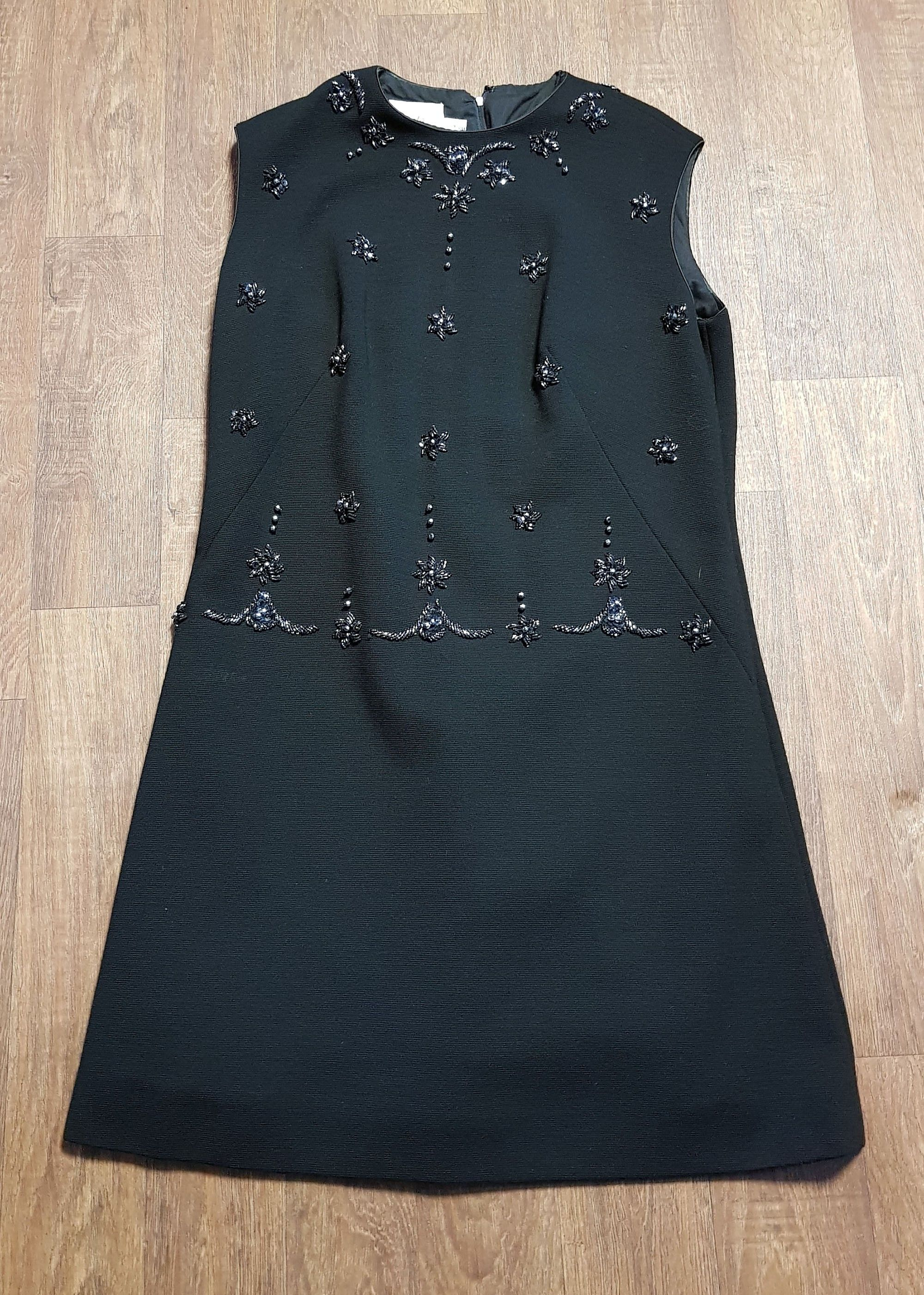 Stunning 1960s Vintage Black Beaded Shift Dress UK Size 16