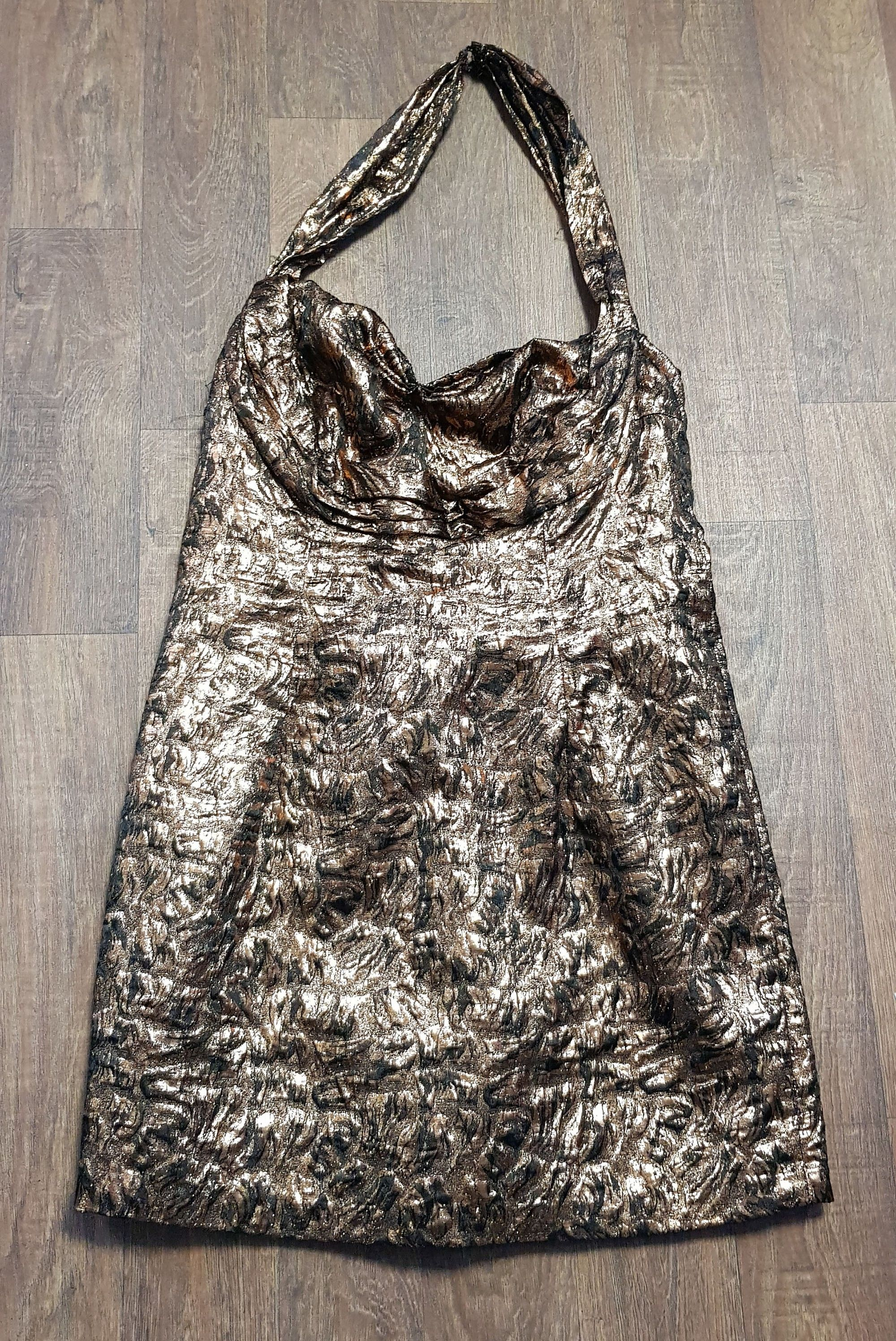 1980s Vintage Bronze Metallic Mini Party Dress UK Size 12/14