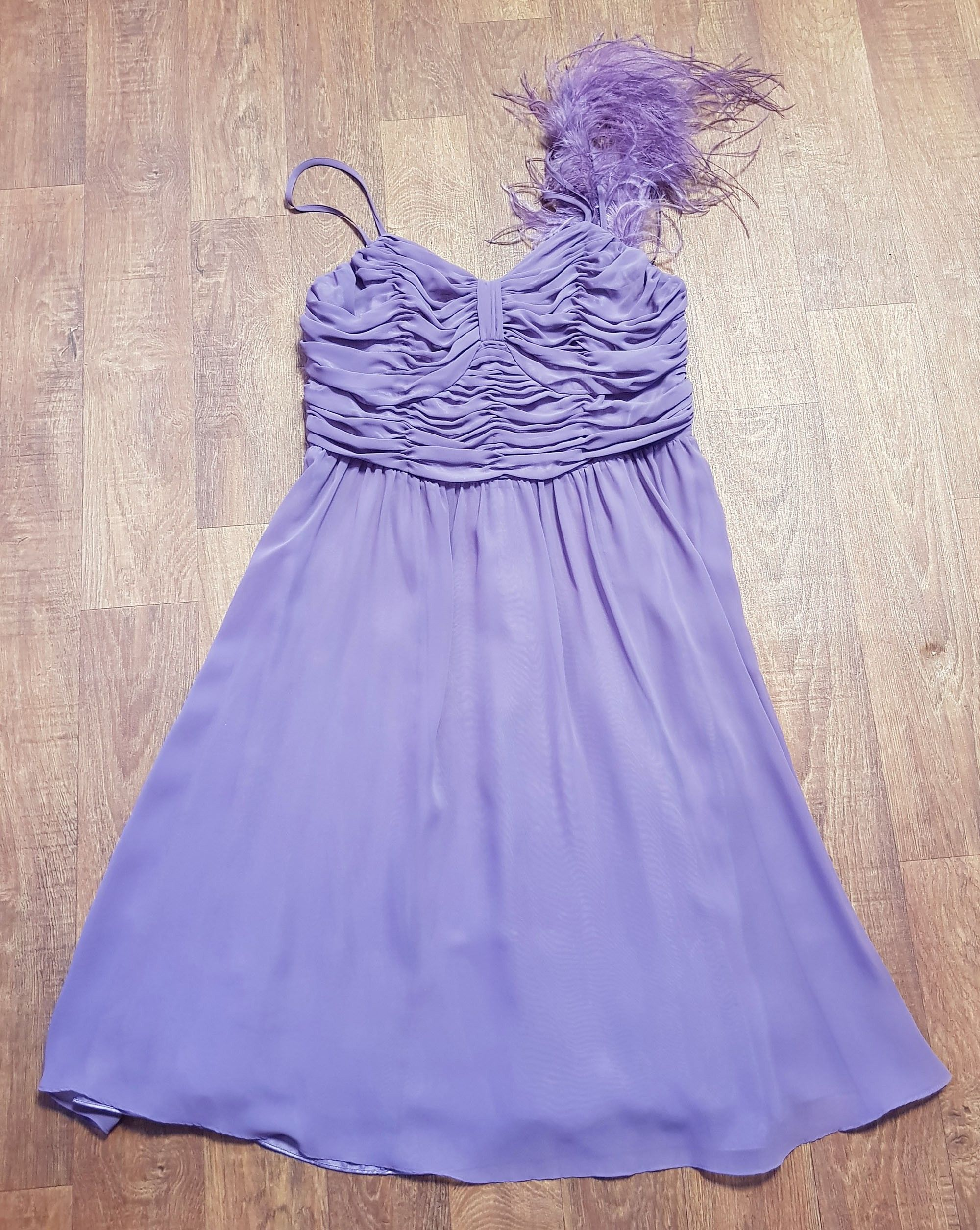 Vintage Mauve Chiffon & Feather Evening/Prom Dress UK Size 12/14
