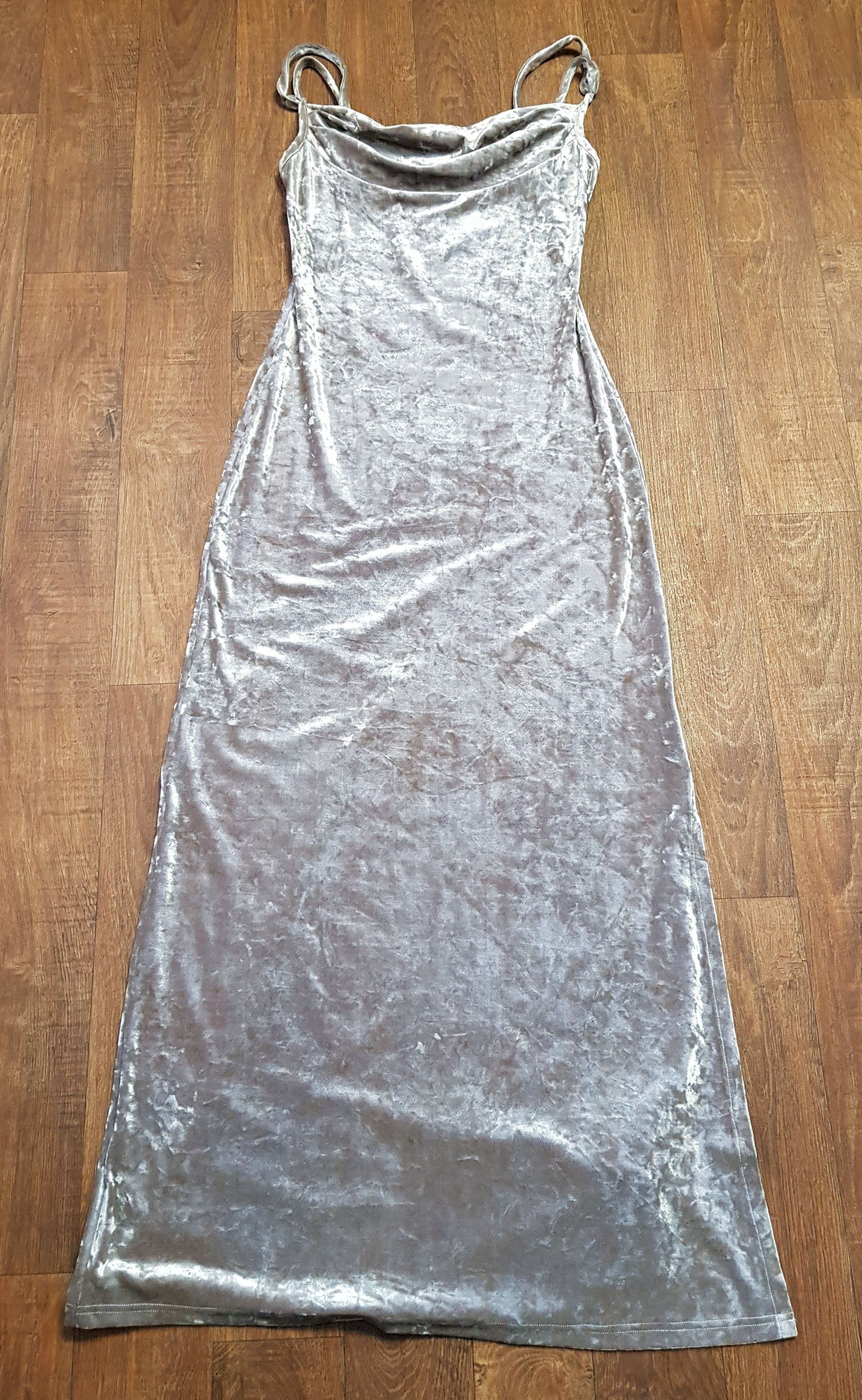 Designer Vintage 1970s Biba Silver Crushed Velvet Maxi Dress UK Size 10/12