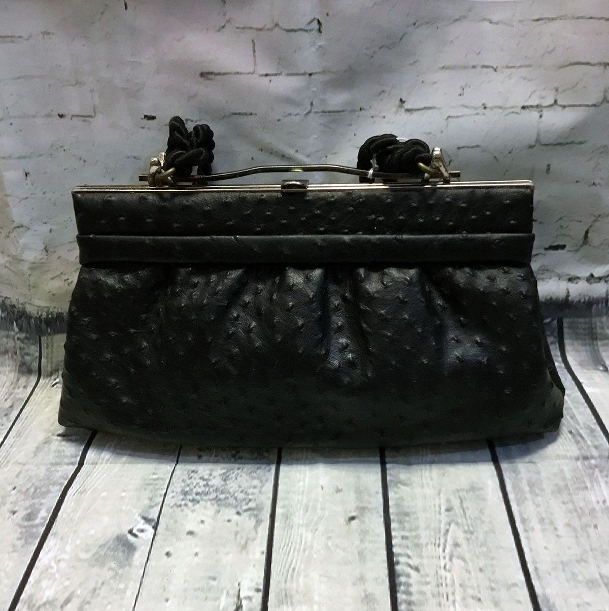 Vintage 1950s Black Ostrich Leather Handbag