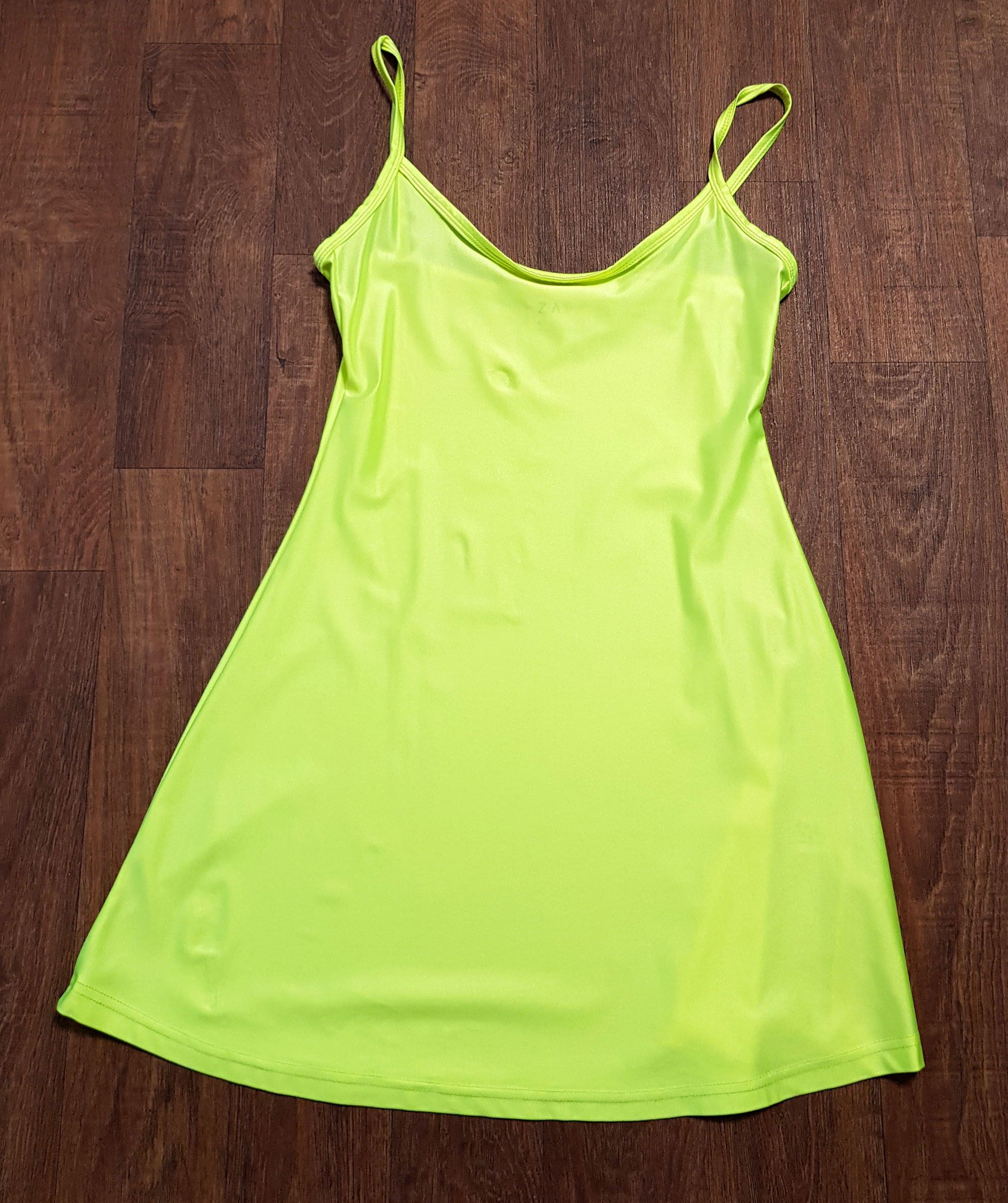 1990s Vintage Neon Green Slip Dress UK Size 8/10