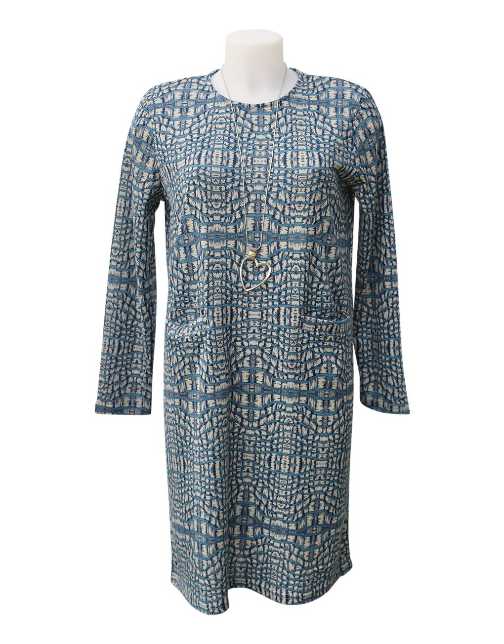 Alice Collins Diana Tunic Dress Patch Print Navy 8 XS